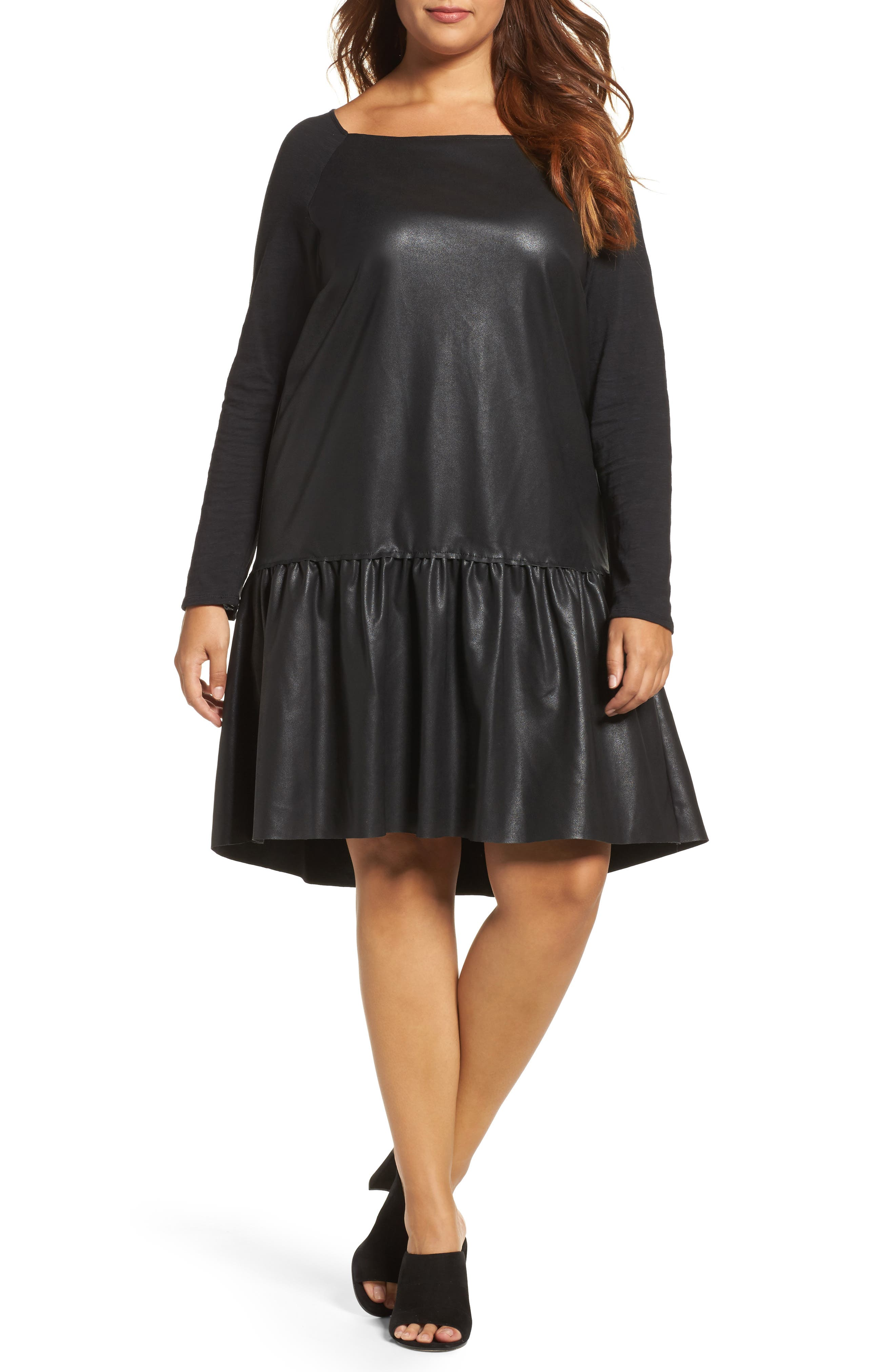 Drop Waist Faux Leather & Knit Dress,                         Main,                         color, Black