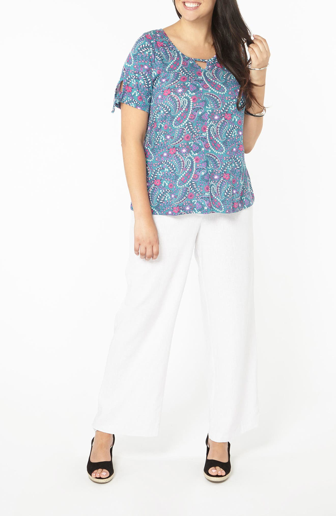 Paisley Floral Top,                             Alternate thumbnail 3, color,                             Teal