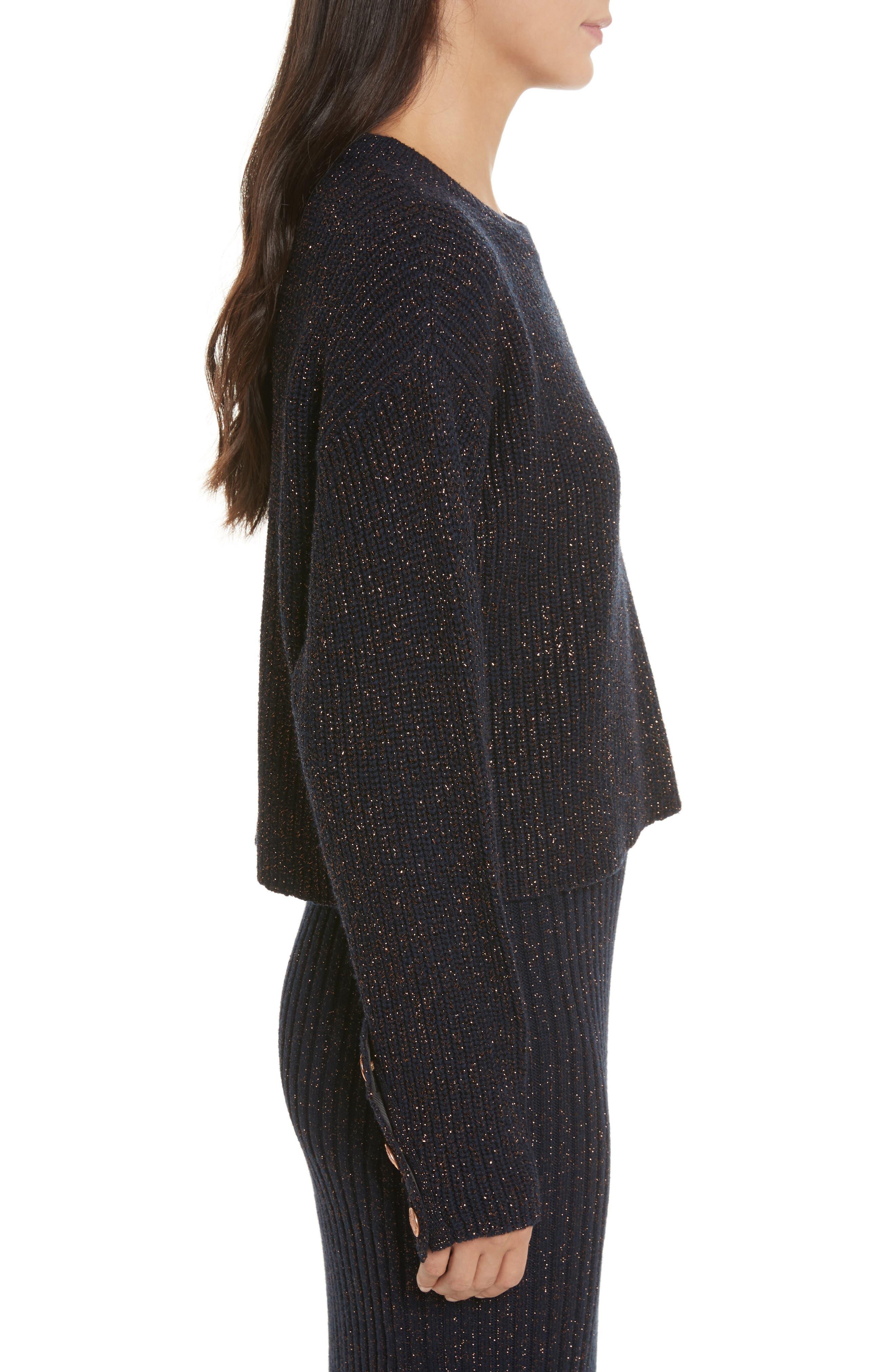 Leyton Metallic Knit Merino Wool Blend Sweater,                             Alternate thumbnail 4, color,                             Navy