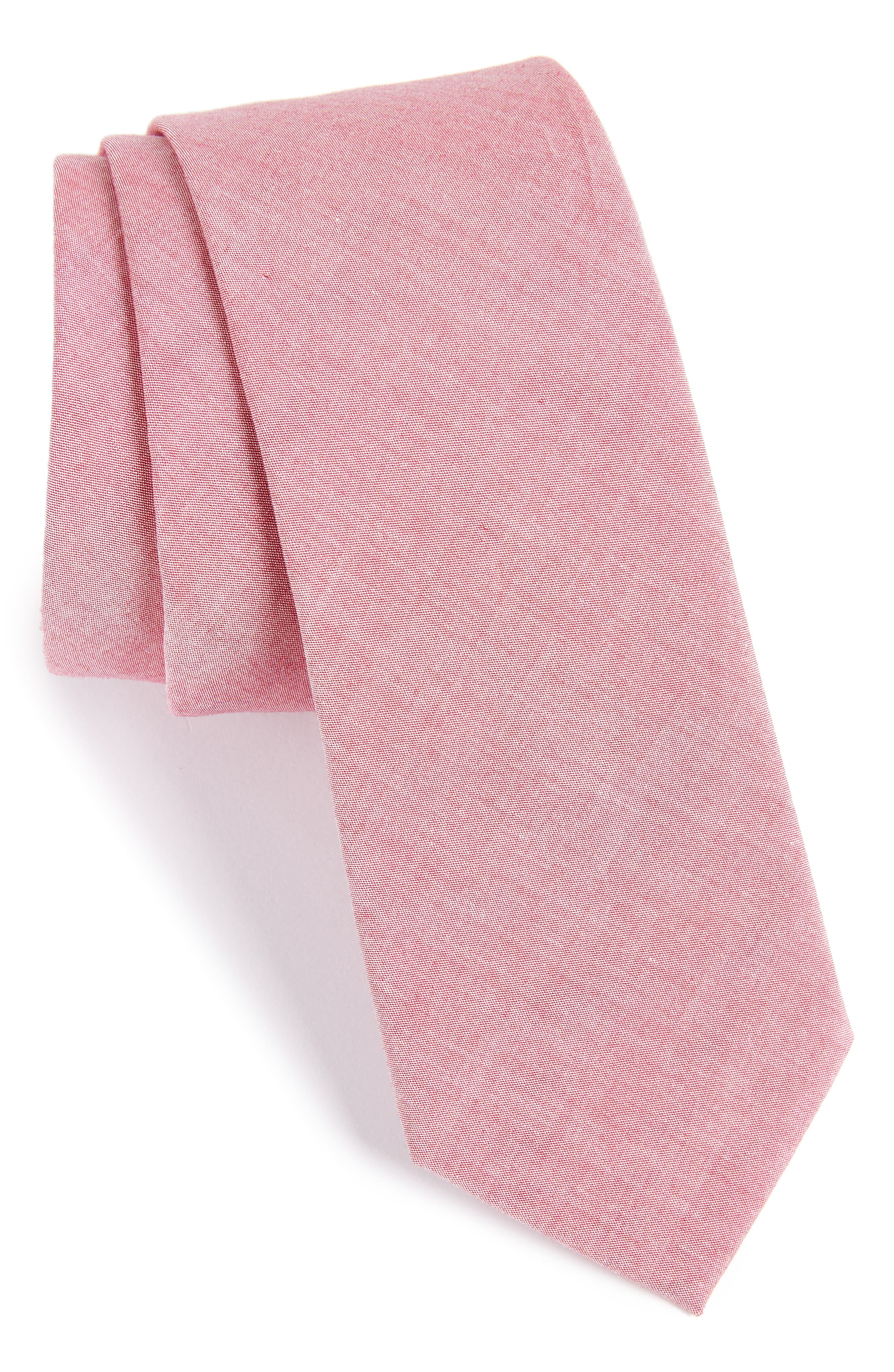 Johnson Solid Cotton Tie,                             Main thumbnail 1, color,                             Red