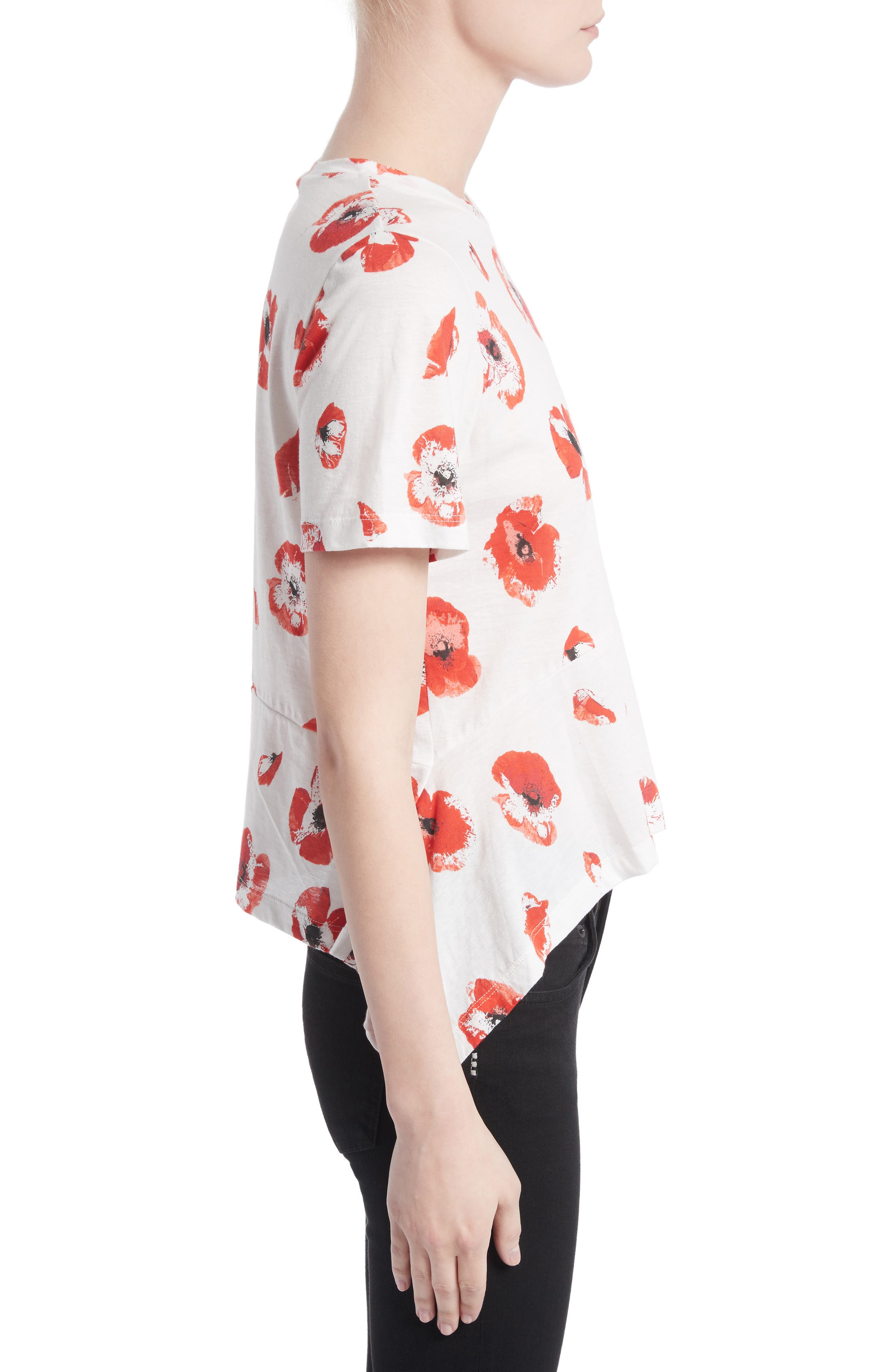 Floral Peplum Tee,                             Alternate thumbnail 3, color,                             Creme/ Coral Poppy