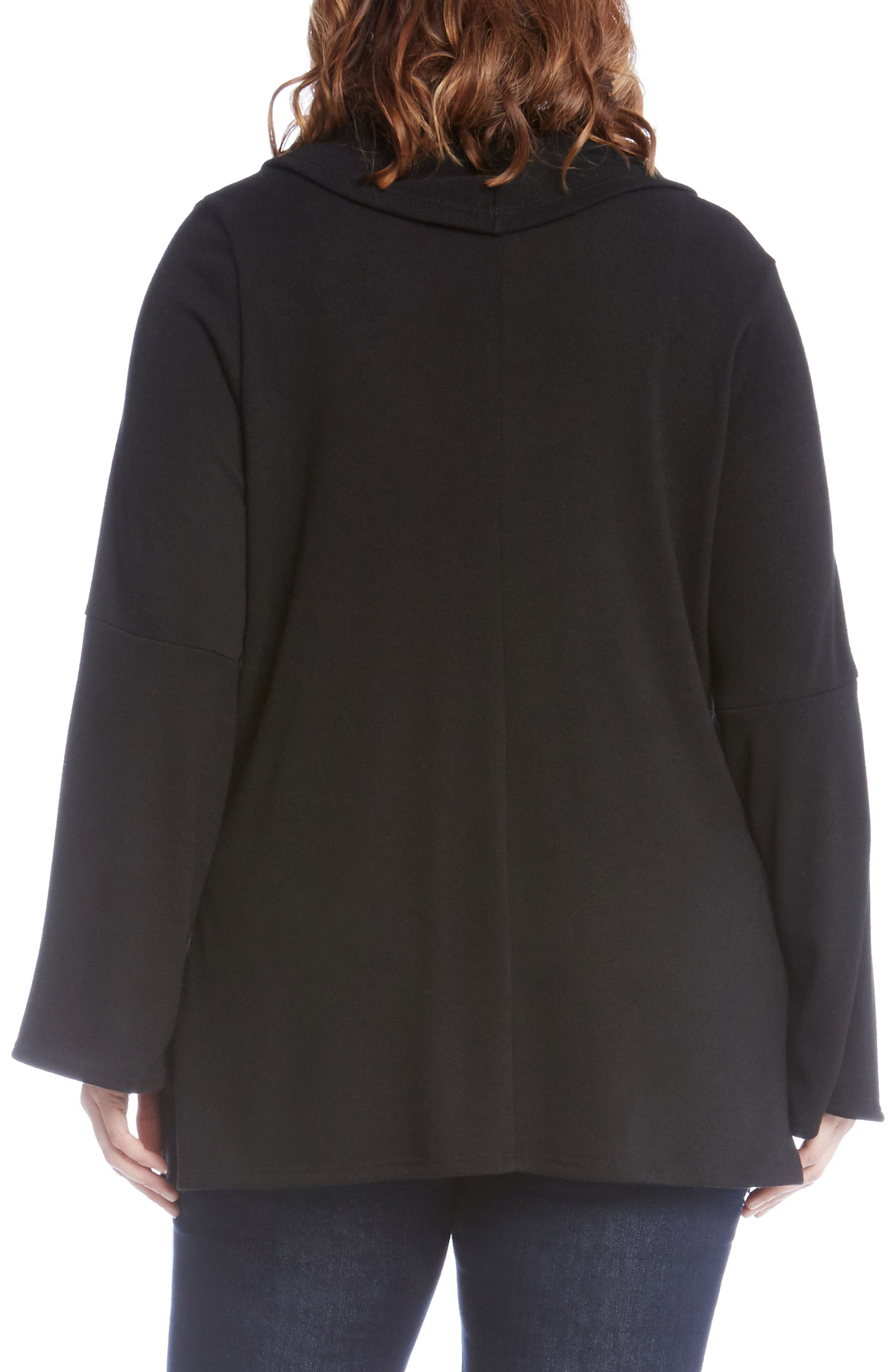 Flare Sleeve Cowl Neck Sweater,                             Alternate thumbnail 2, color,                             Black