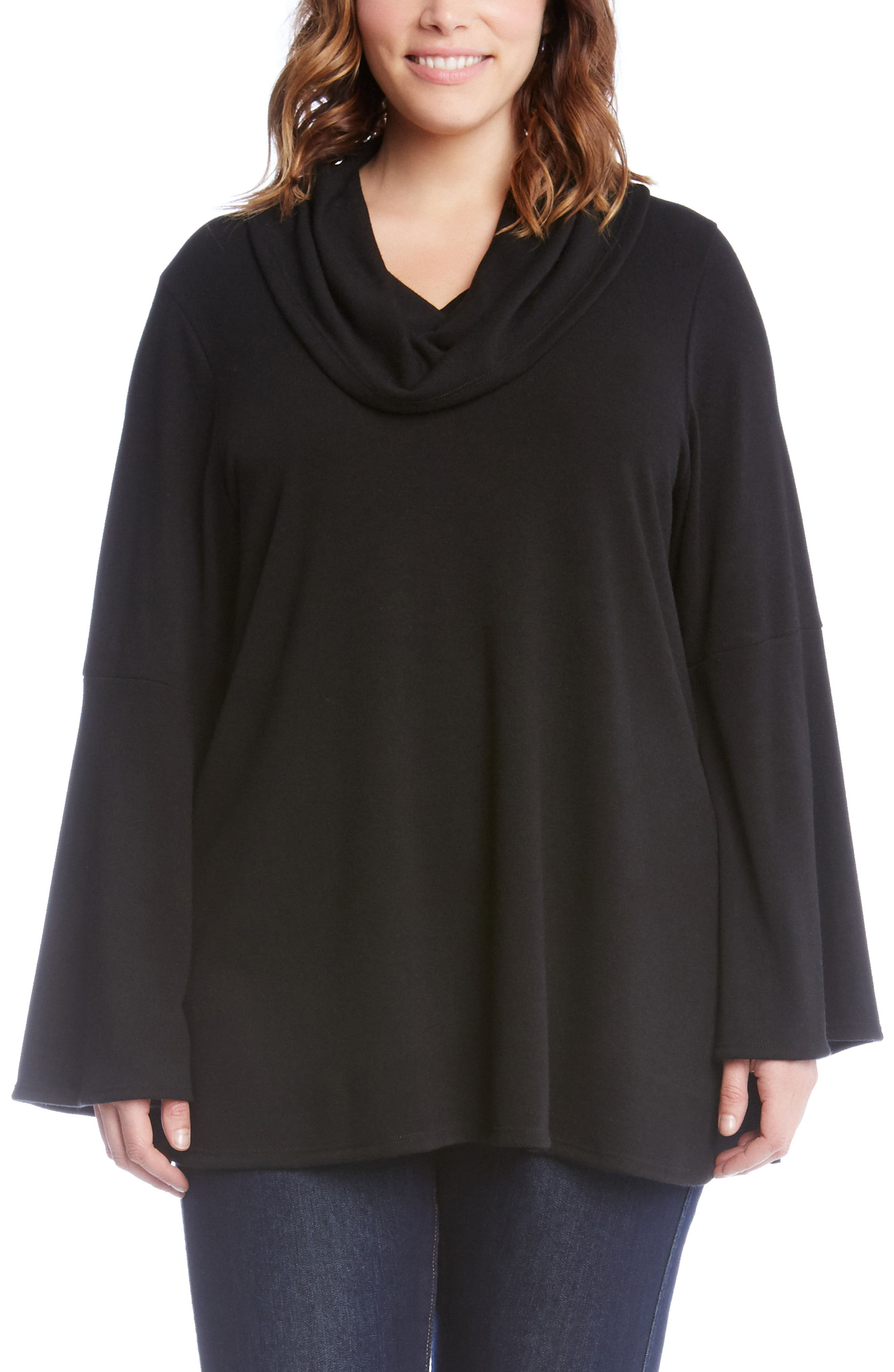 Flare Sleeve Cowl Neck Sweater,                             Main thumbnail 1, color,                             Black