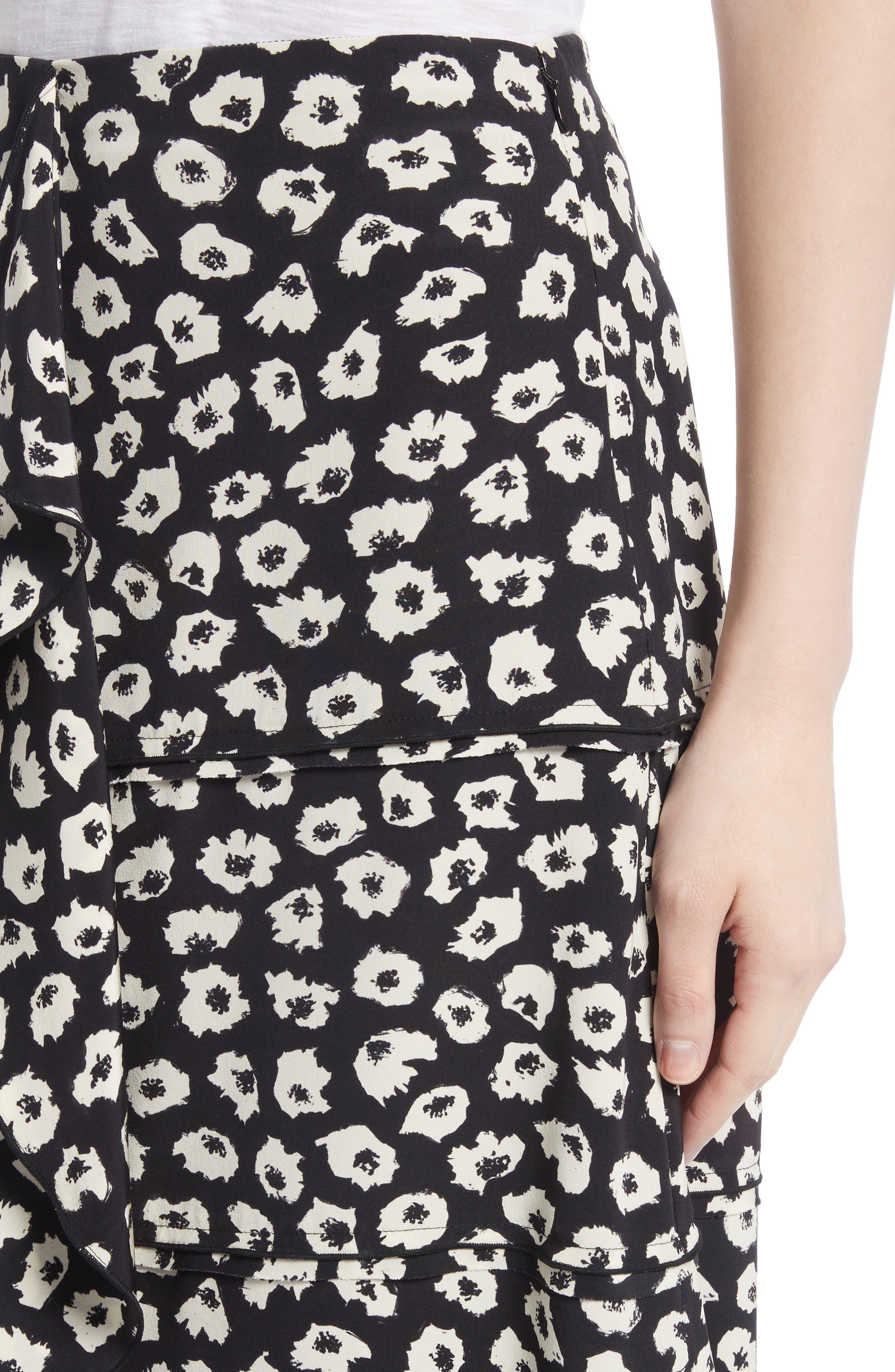 Ruffle Print Silk Midi Skirt,                             Alternate thumbnail 4, color,                             Black/ Off White Jasmine