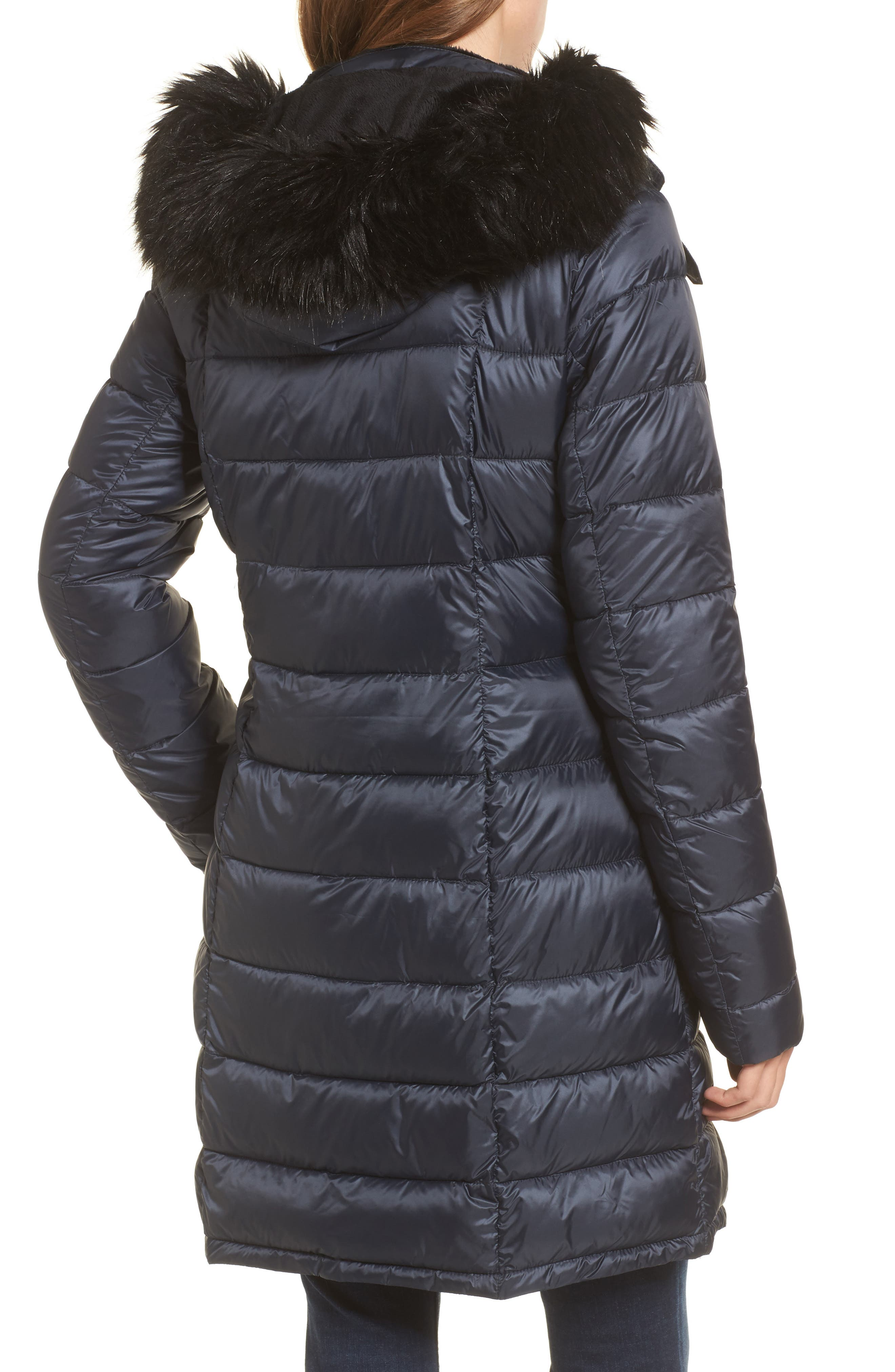 Dunnet Water Resistant Hooded Quilted Coat with Faux Fur Trim,                             Alternate thumbnail 2, color,                             Navy