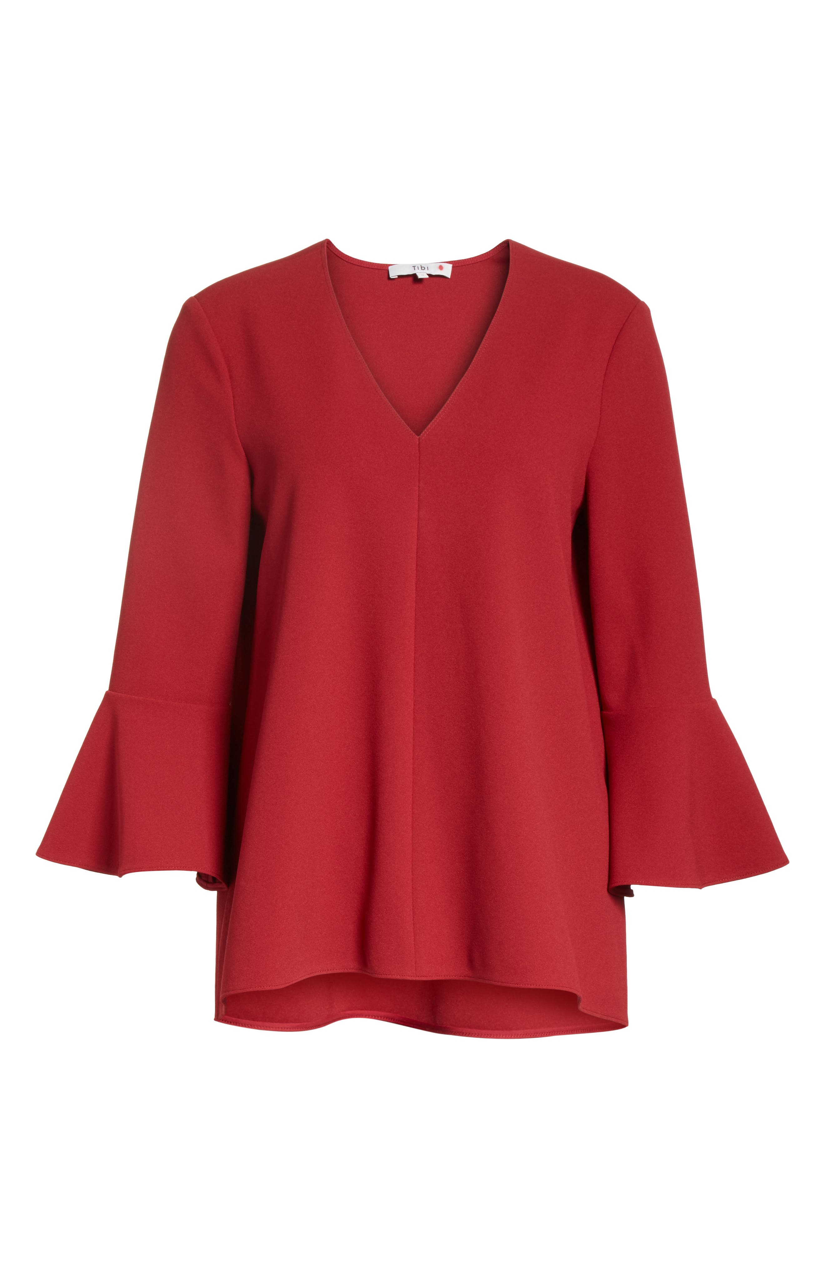 Ruffle Sleeve Stretch Crepe Top,                             Alternate thumbnail 6, color,                             Burt Red