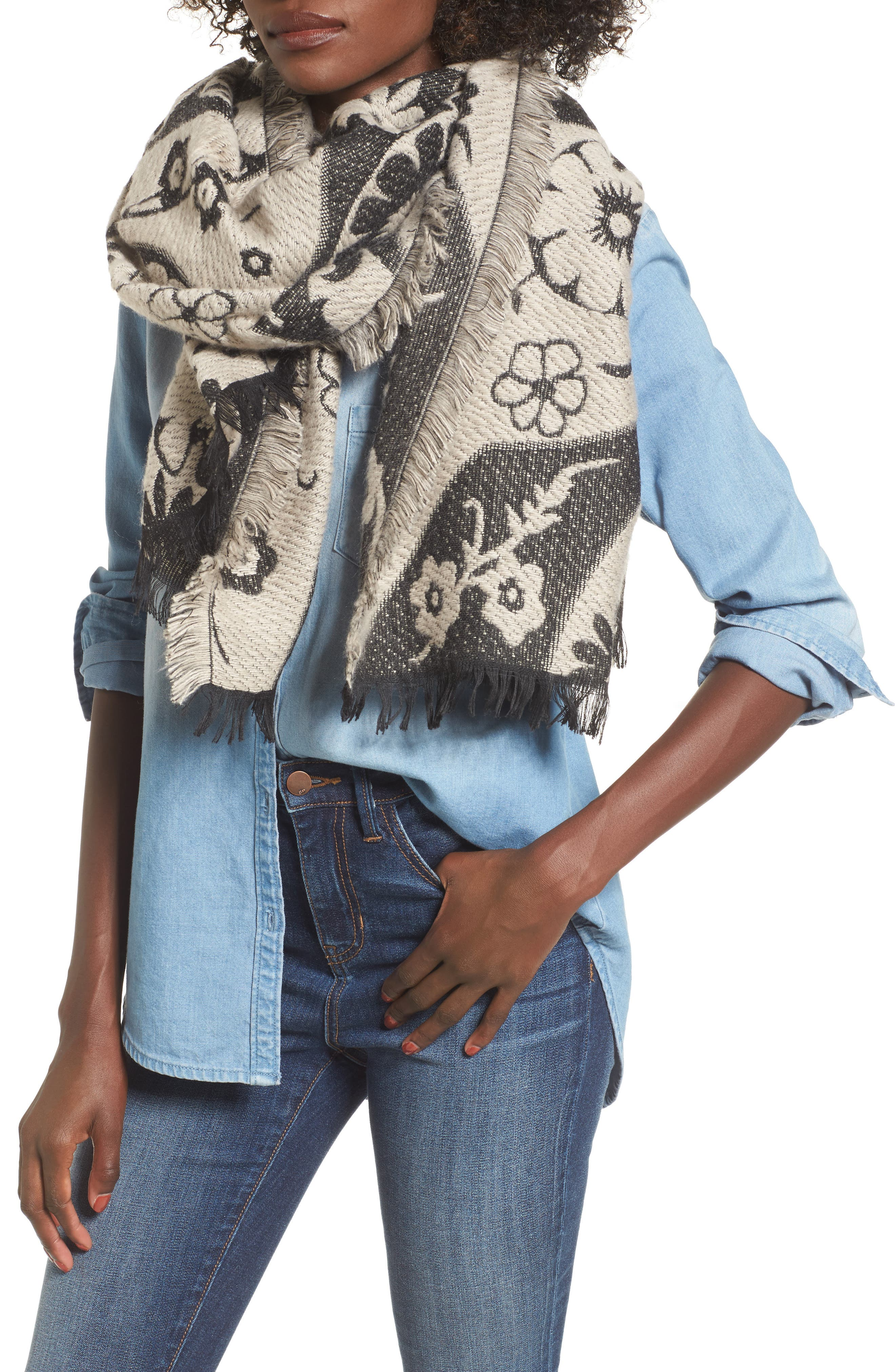 Floral Scarf,                         Main,                         color, Ivory Combo