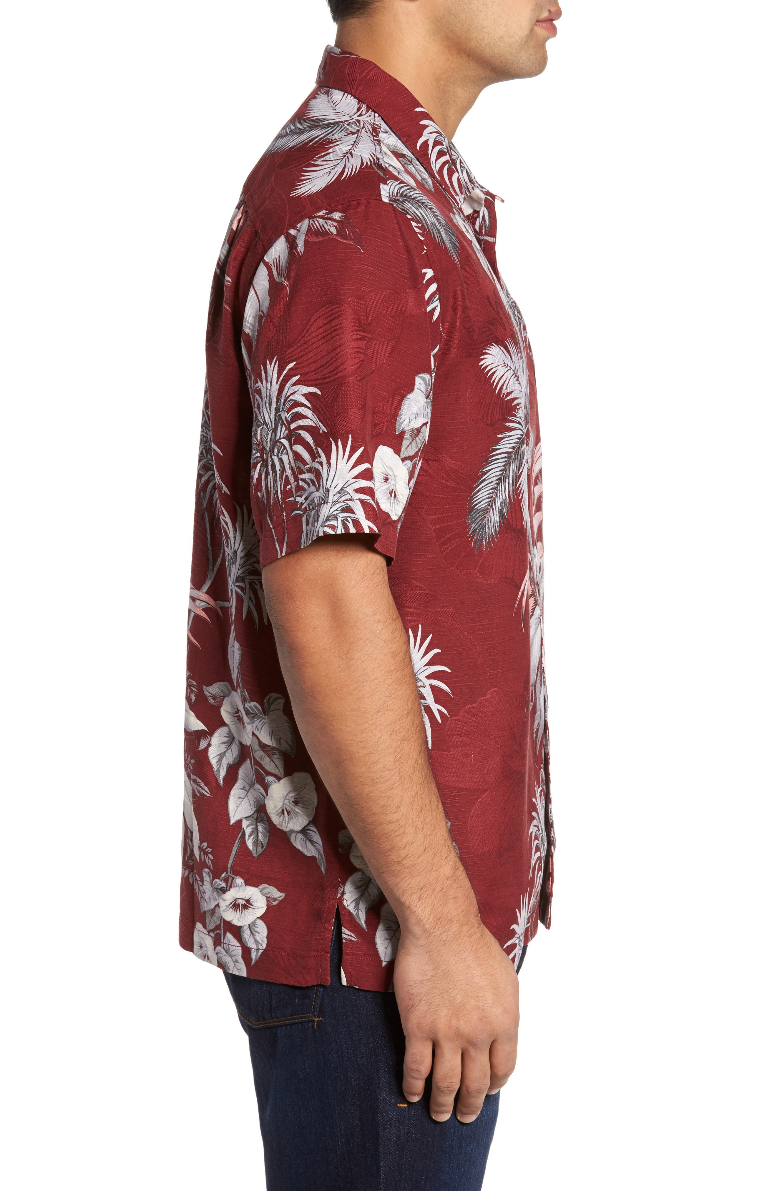 Boca da Palm Silk Camp Shirt,                             Alternate thumbnail 3, color,                             Ruby Wine