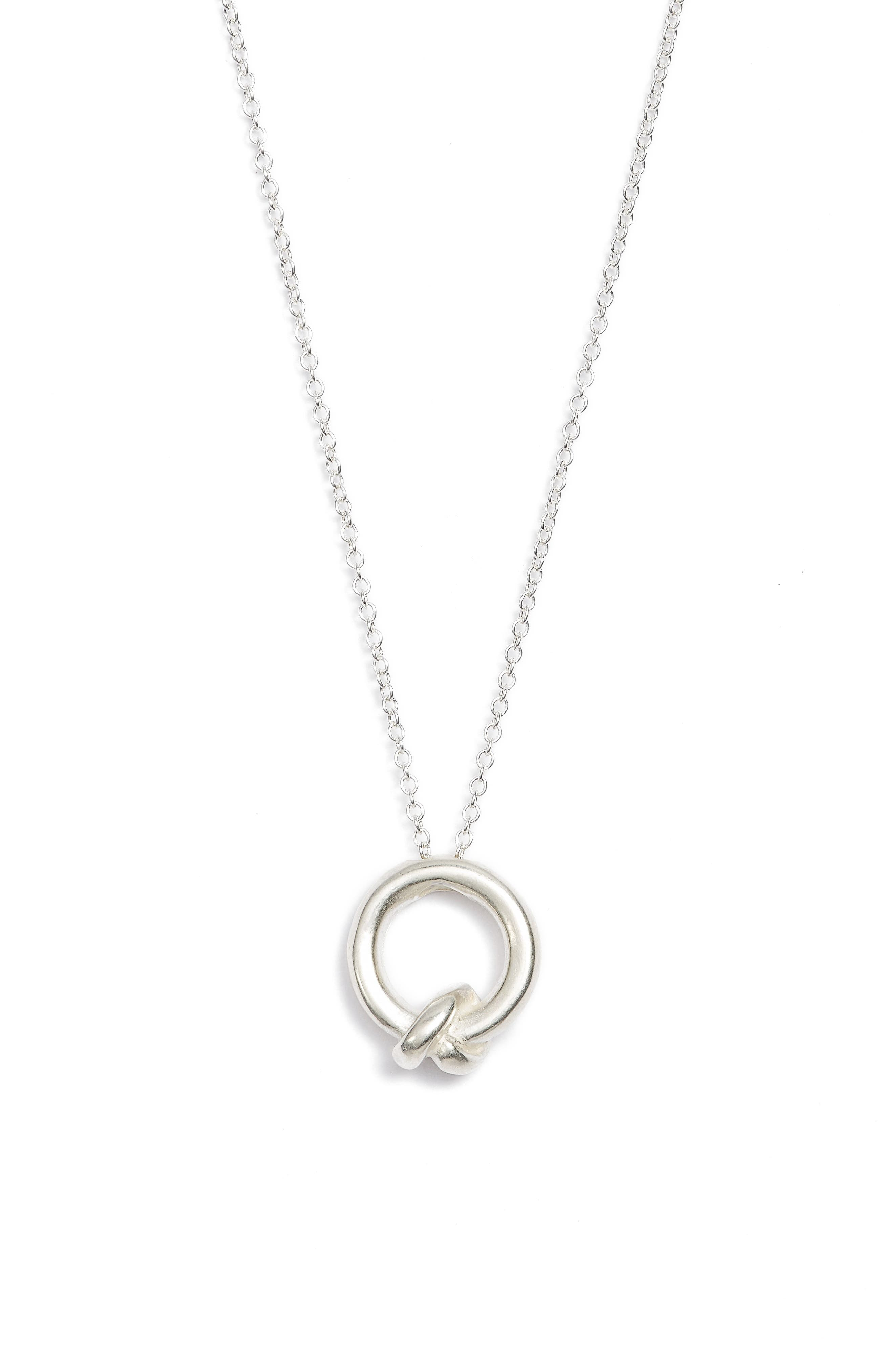 Love You, Sister Together Knot Pendant Necklace,                             Alternate thumbnail 3, color,                             Silver