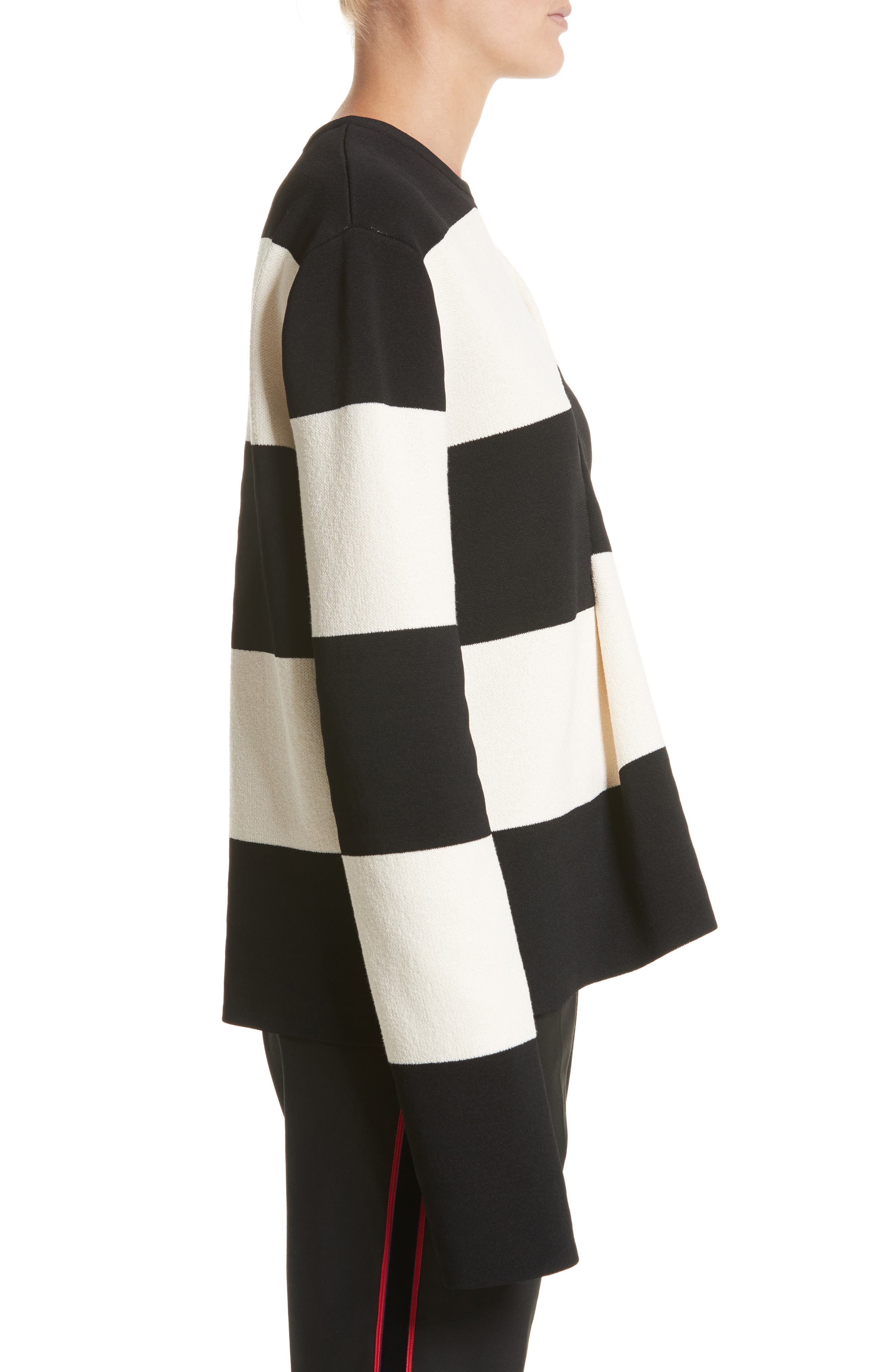 Folded Stripe Sweater,                             Alternate thumbnail 3, color,                             Ivory/ Black