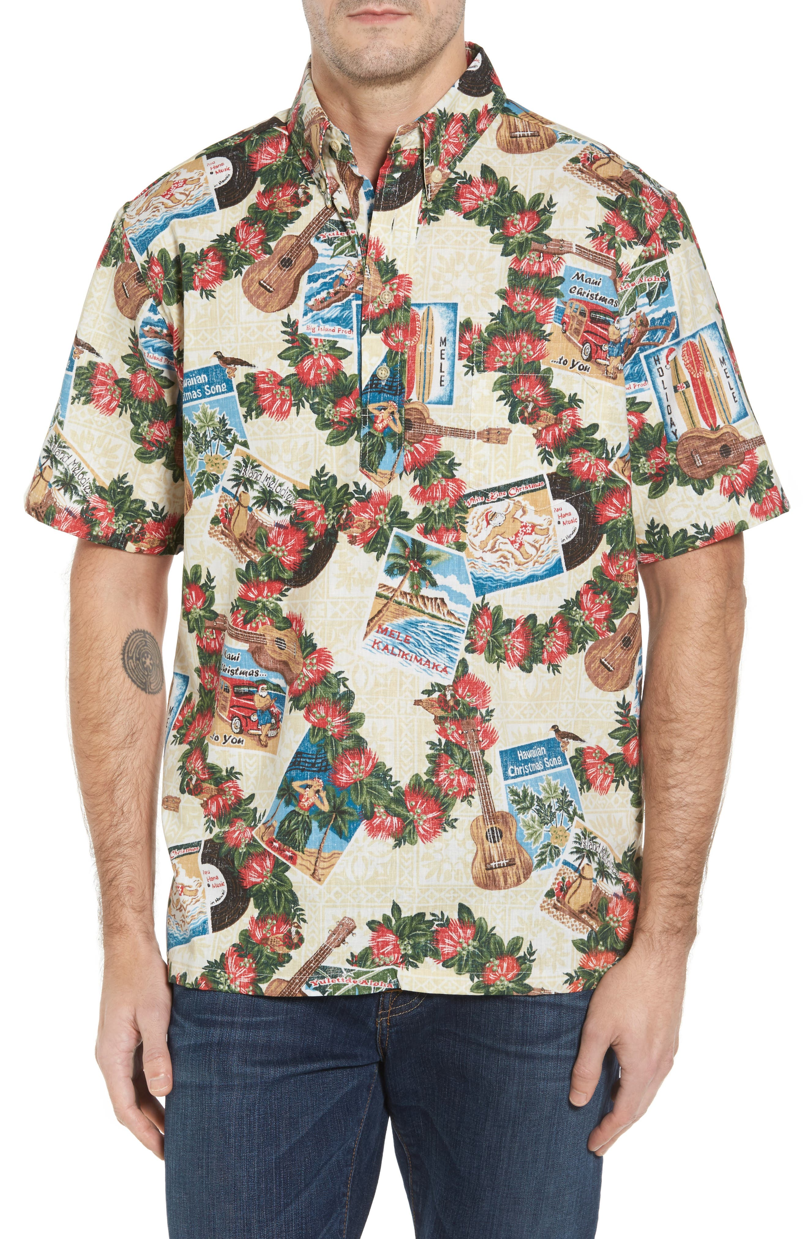 Hawaiian Christmas 2017 Sport Shirt,                         Main,                         color, Natural