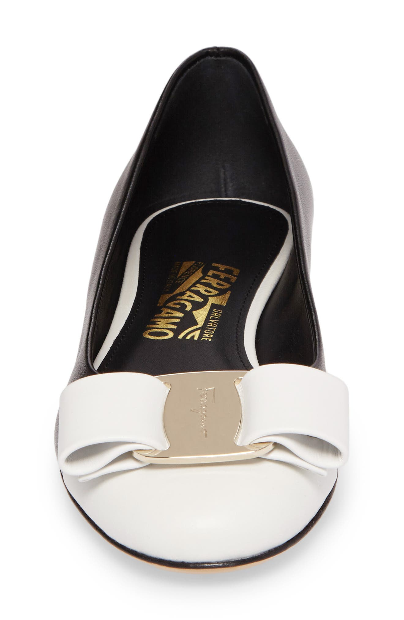 Varina Bow Flat,                             Alternate thumbnail 4, color,                             Black/ White