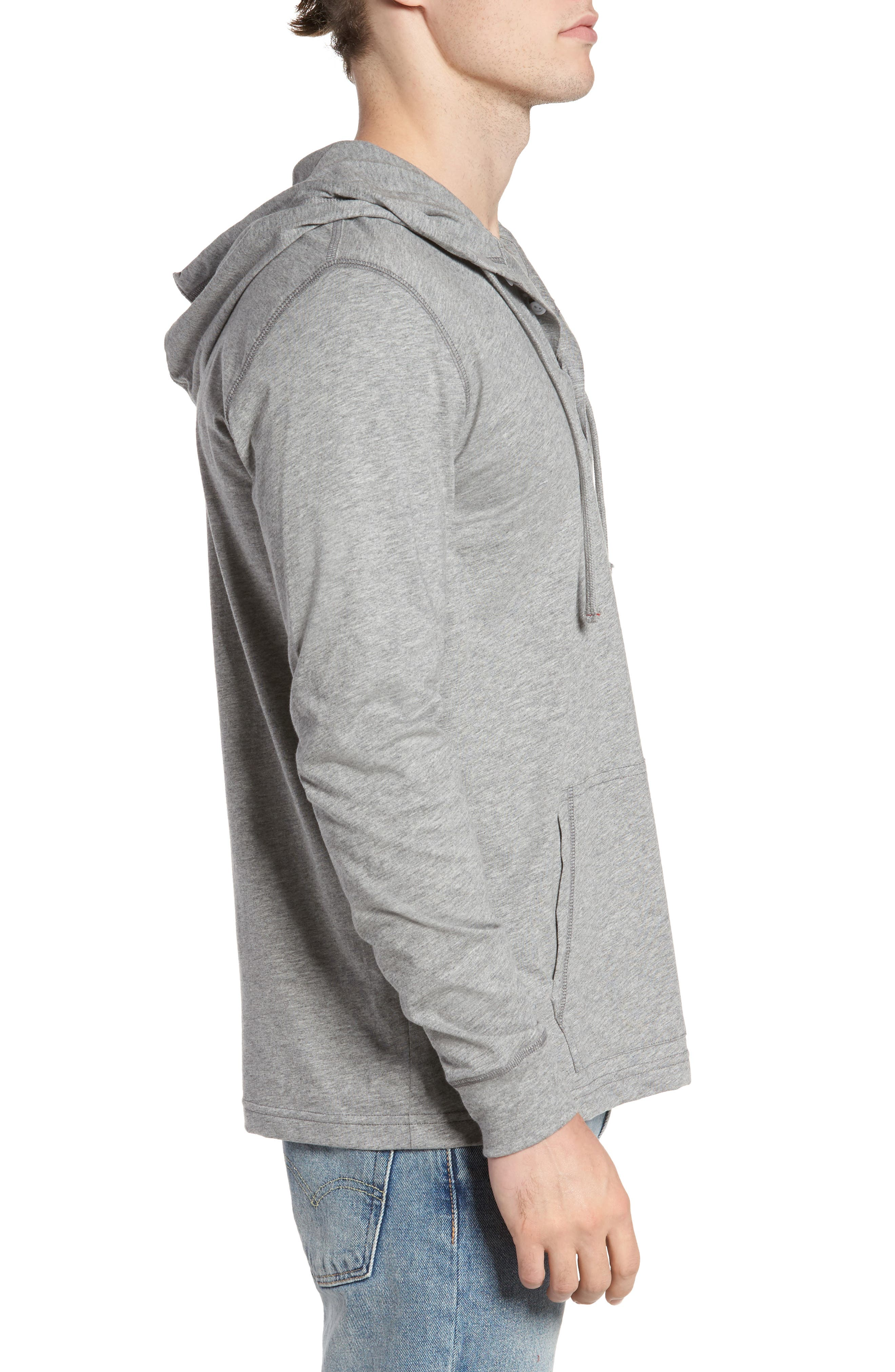Delano Henley Hoodie,                             Alternate thumbnail 3, color,                             Heather Grey