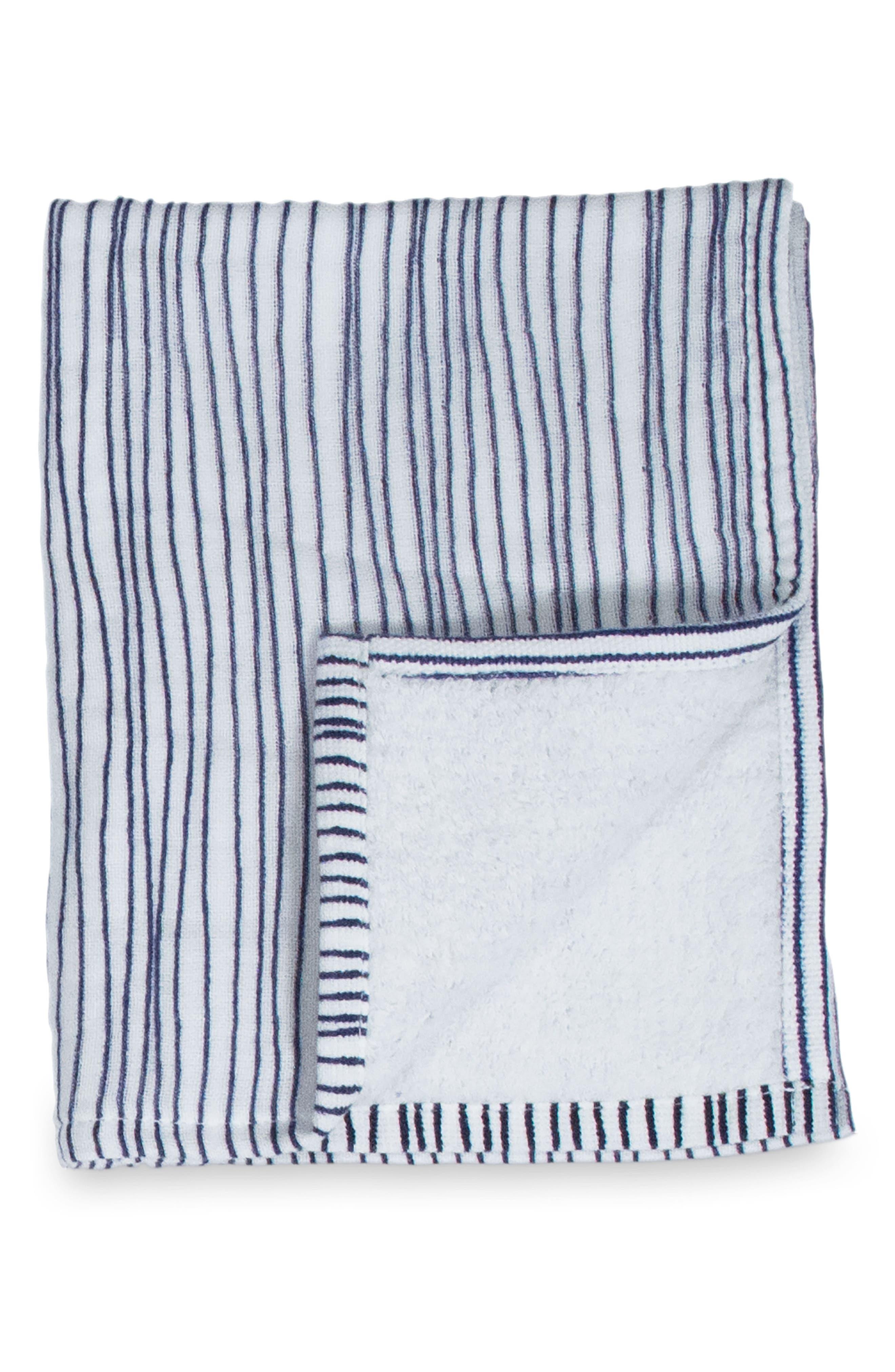 Zero Twist Stripe Hand & Hair Towel,                             Main thumbnail 1, color,                             Ivory