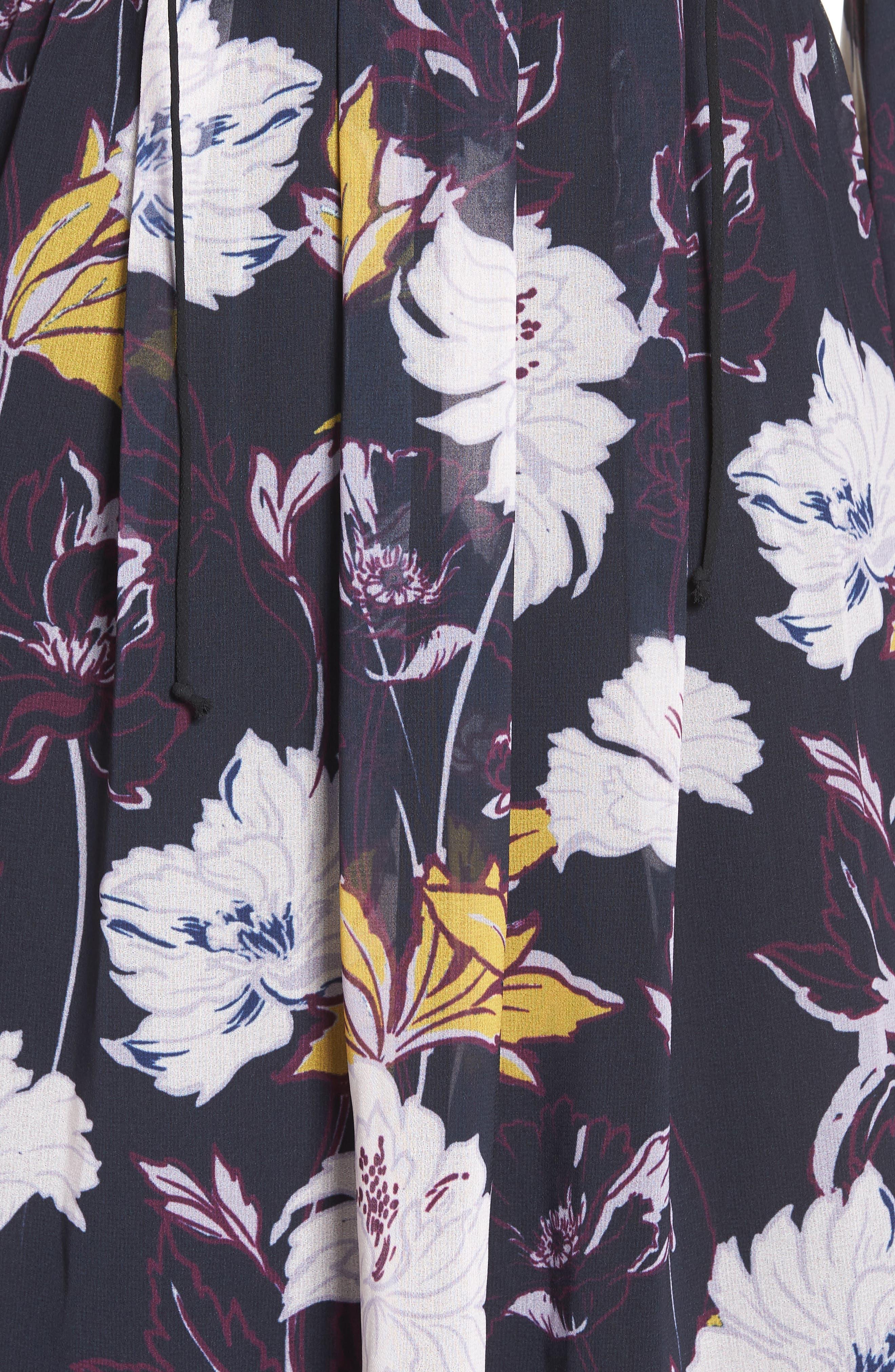 Floral Haze Minidress,                             Alternate thumbnail 5, color,                             Black