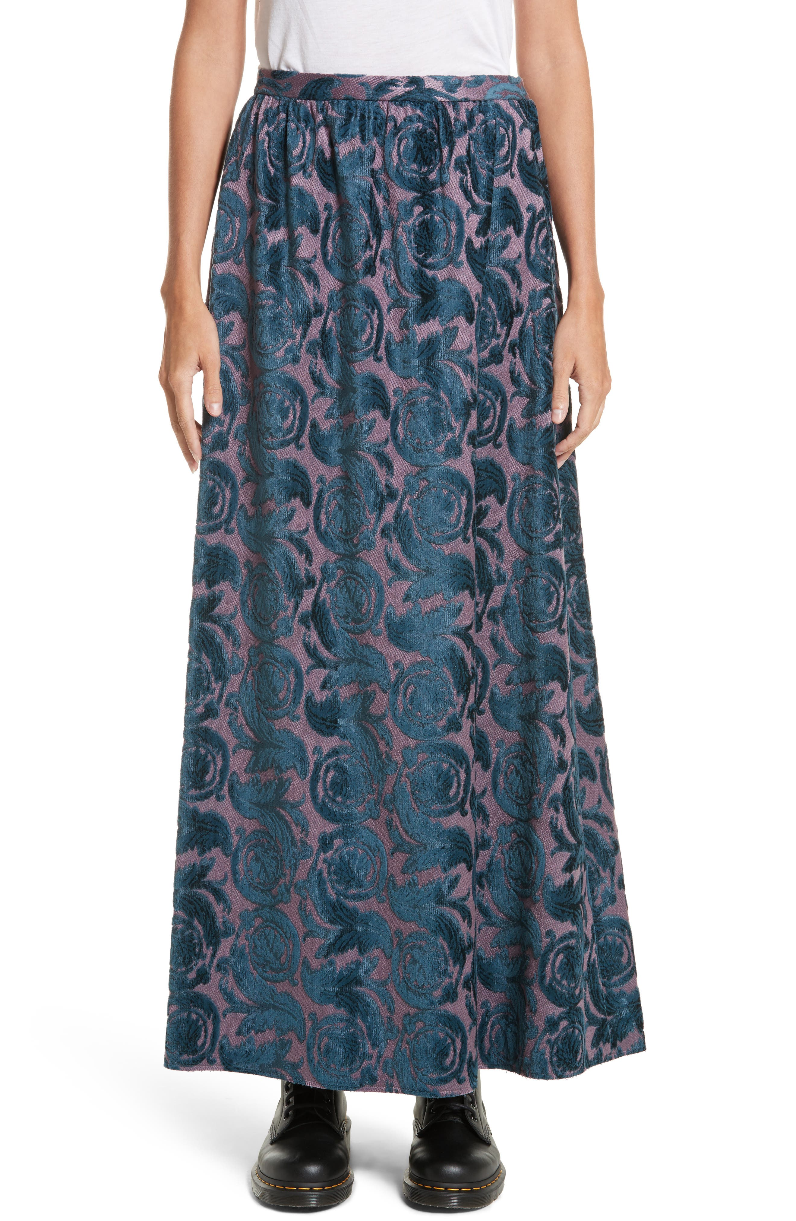 Flocked Maxi Skirt,                         Main,                         color, Purple Base