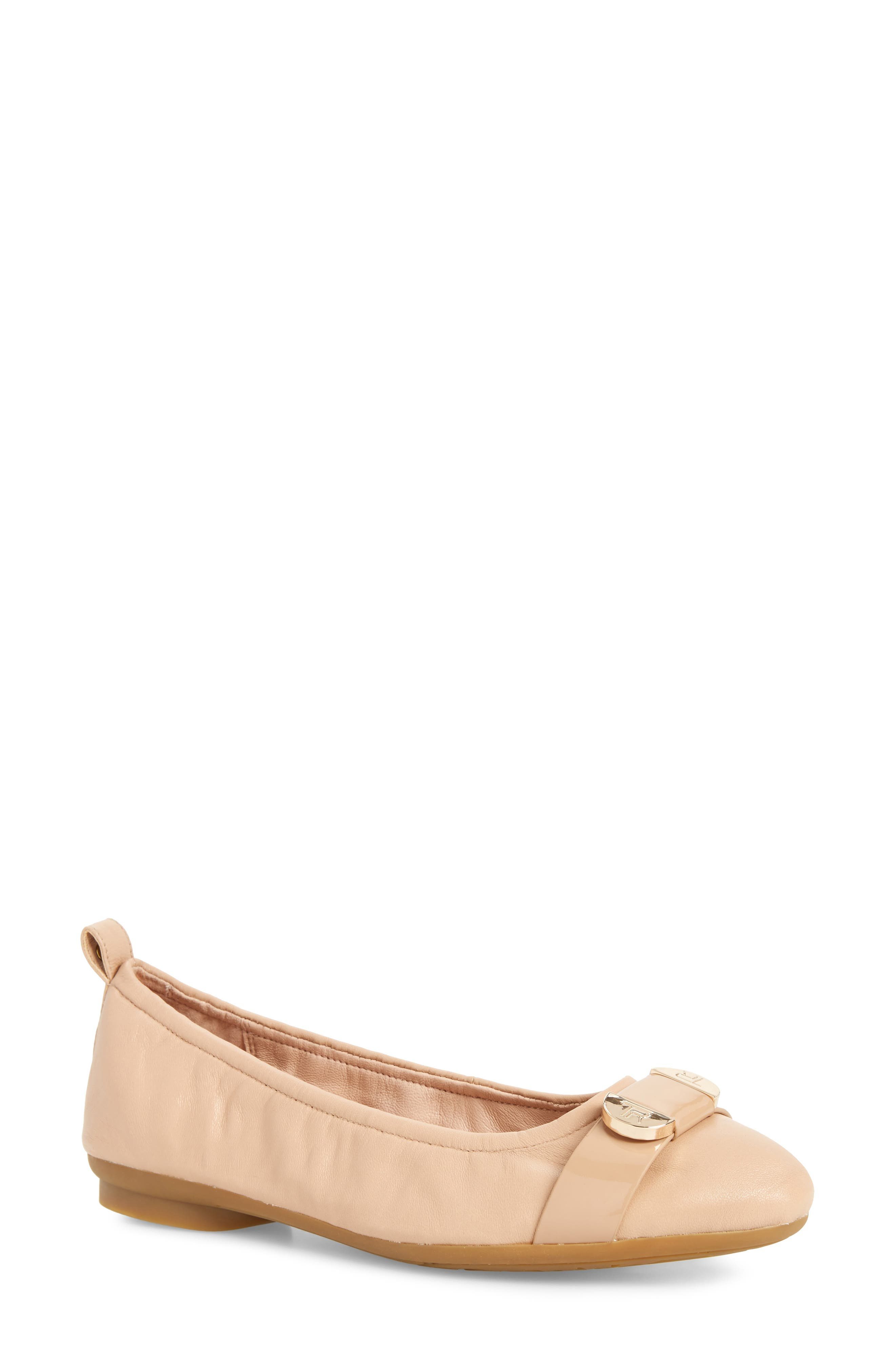 Abriana Ballet Flat,                             Main thumbnail 1, color,                             Nude Leather