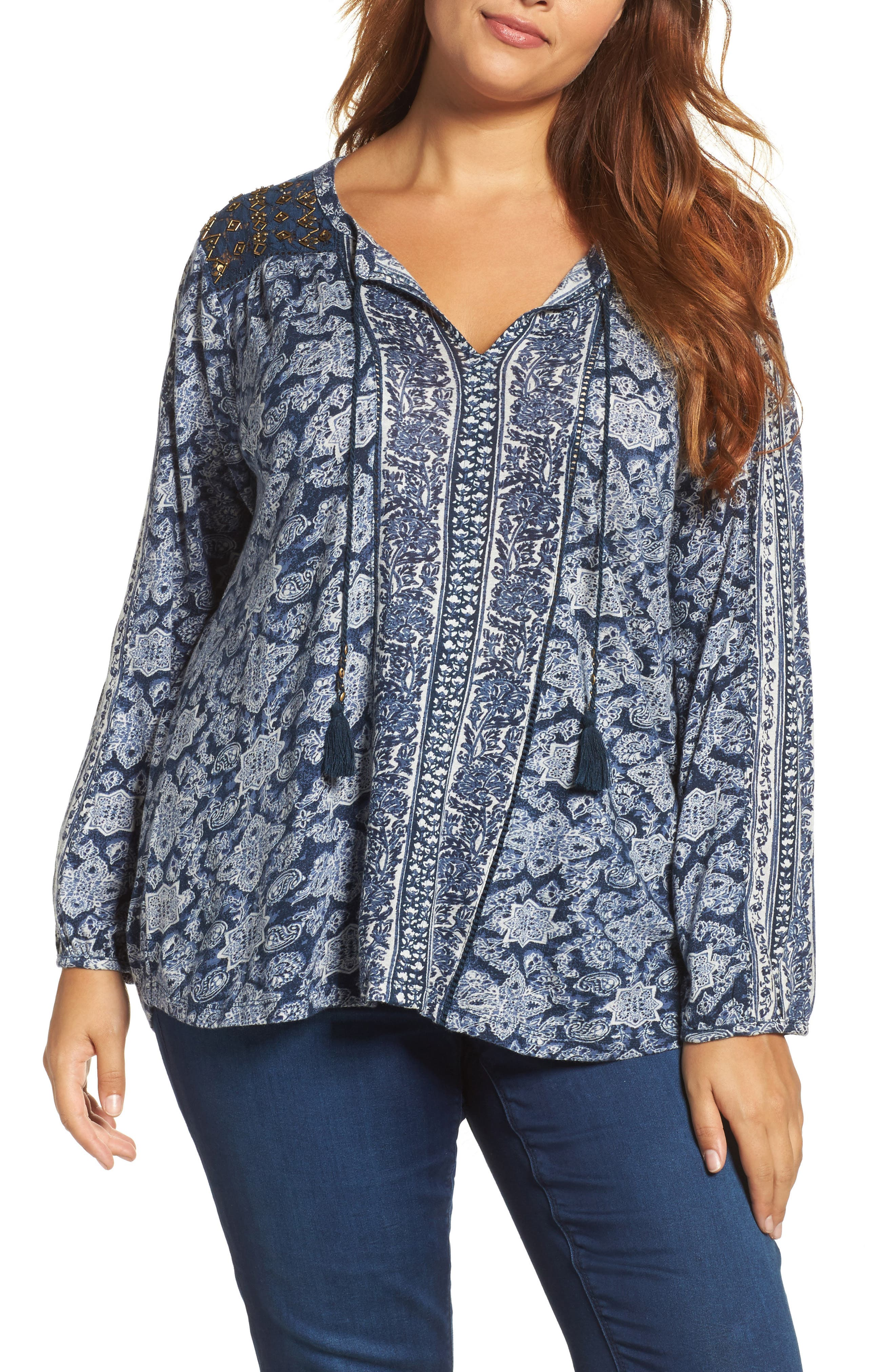 Alternate Image 1 Selected - Lukcy Brand Beaded Mixed Print Top (Plus Size)