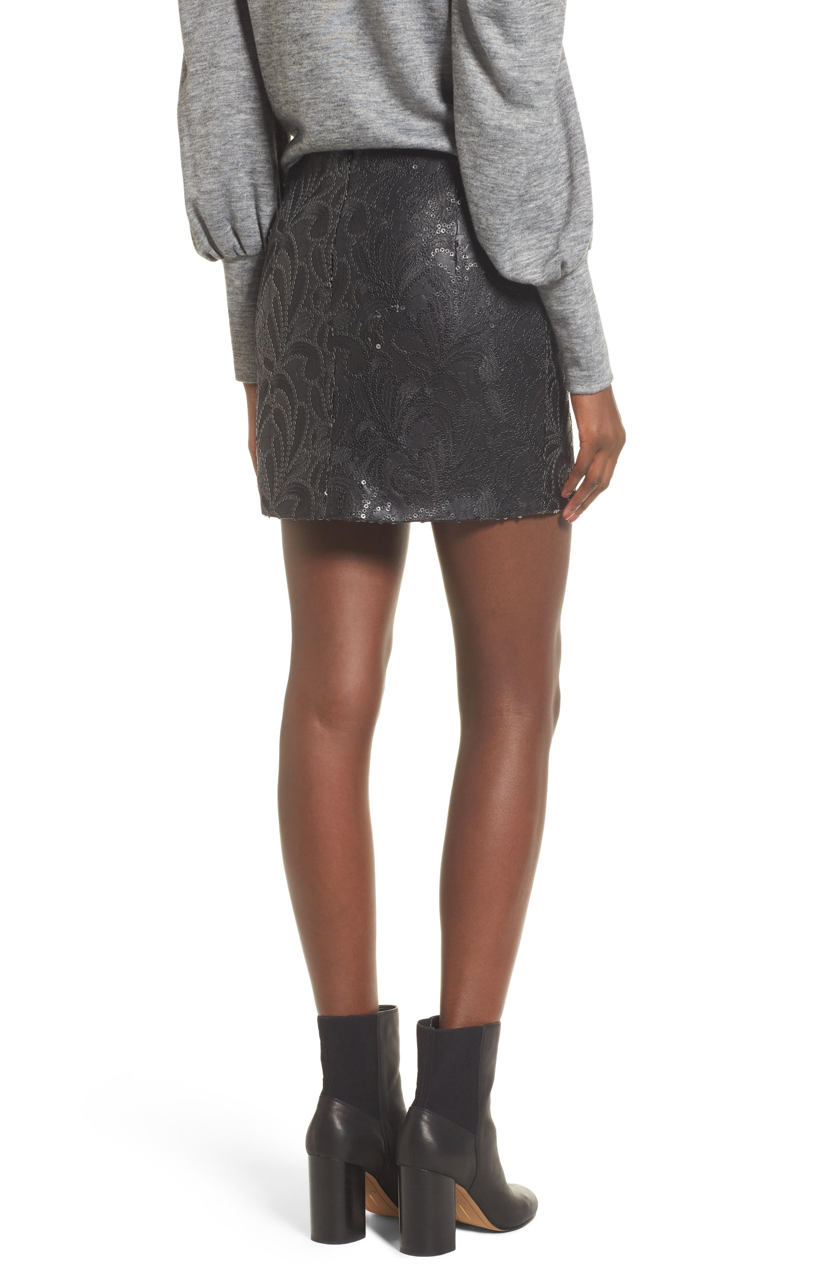 Sequin Faux Leather Miniskirt,                             Alternate thumbnail 2, color,                             Hide And Sequin