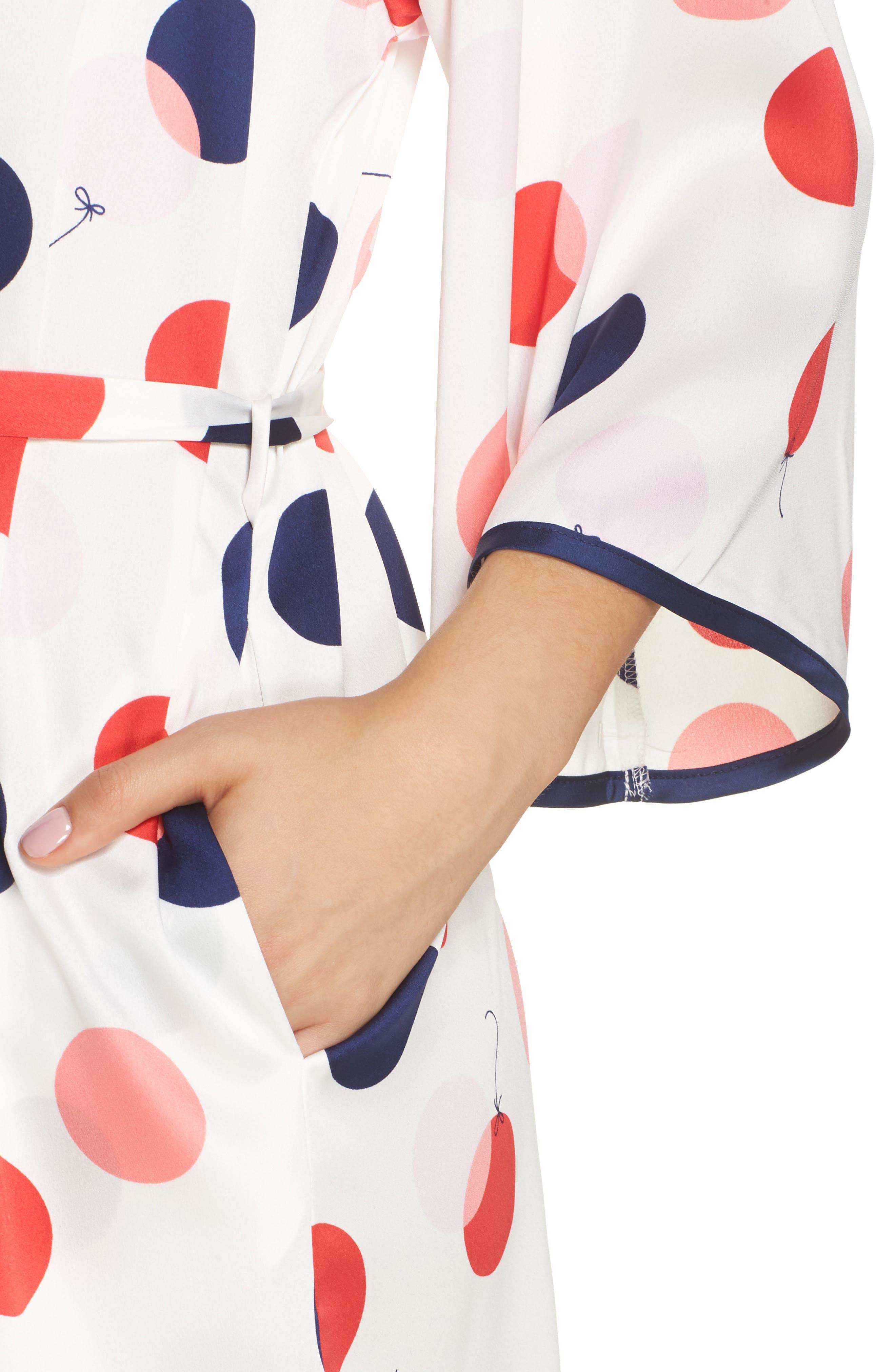 charmeuse short robe,                             Alternate thumbnail 4, color,                             White/ Red