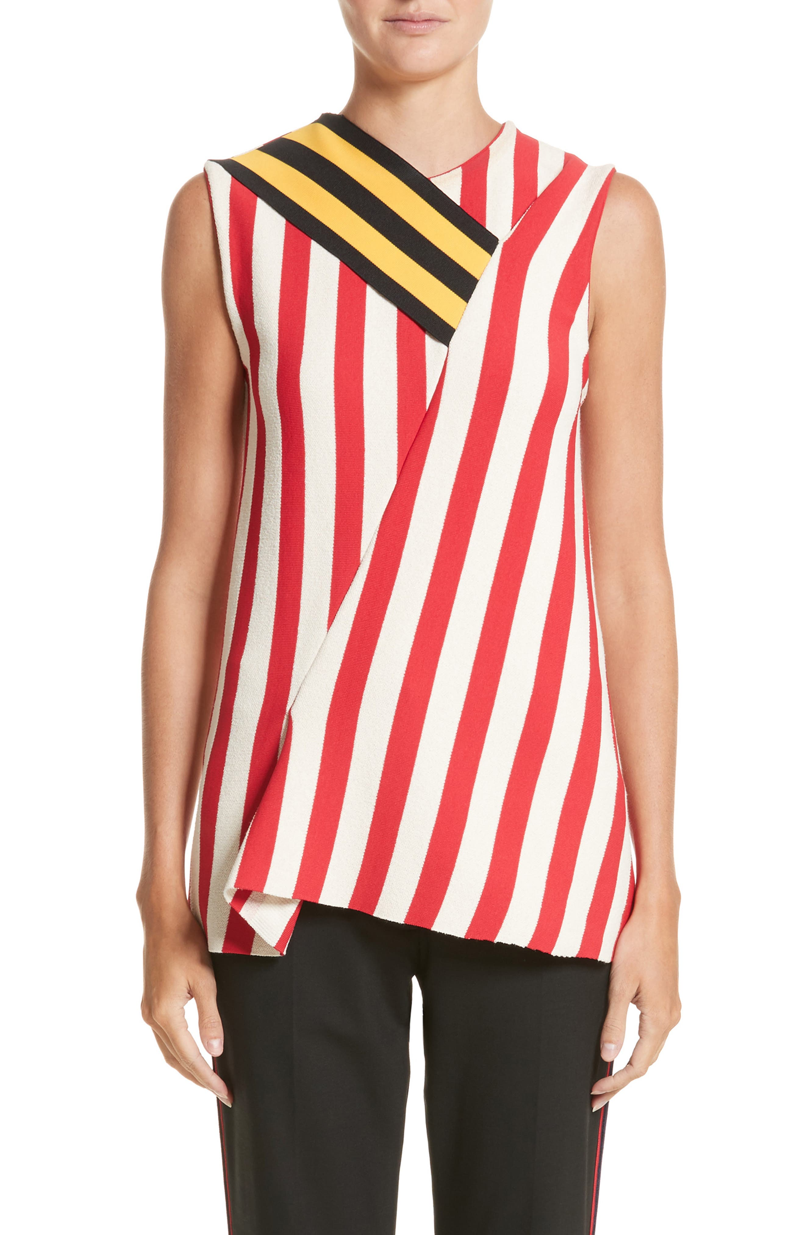 Stripe Top,                         Main,                         color, Ivory/ Red