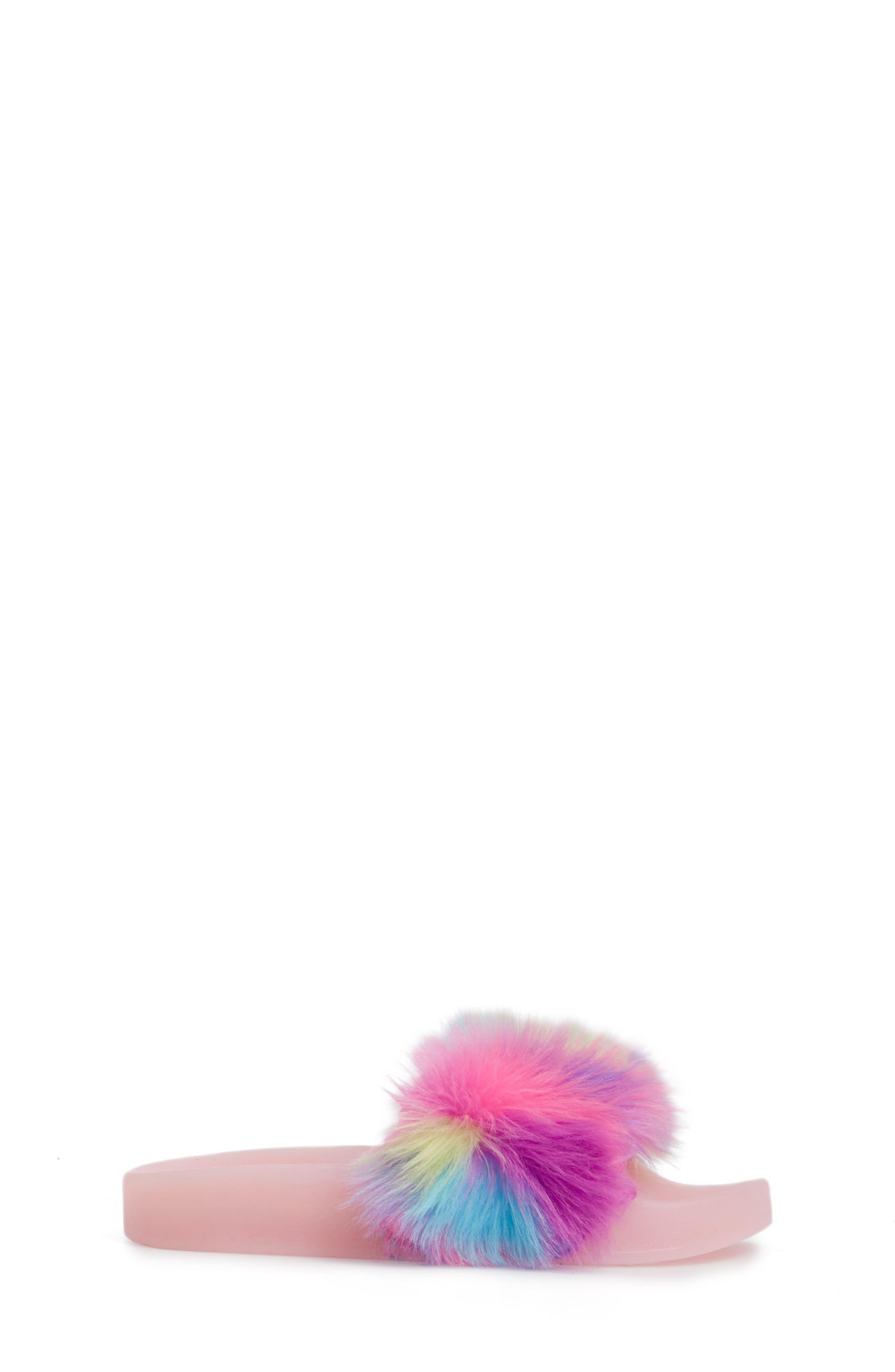 Jlights Faux Fur Light-Up Slide Sandal,                             Alternate thumbnail 3, color,                             Multi