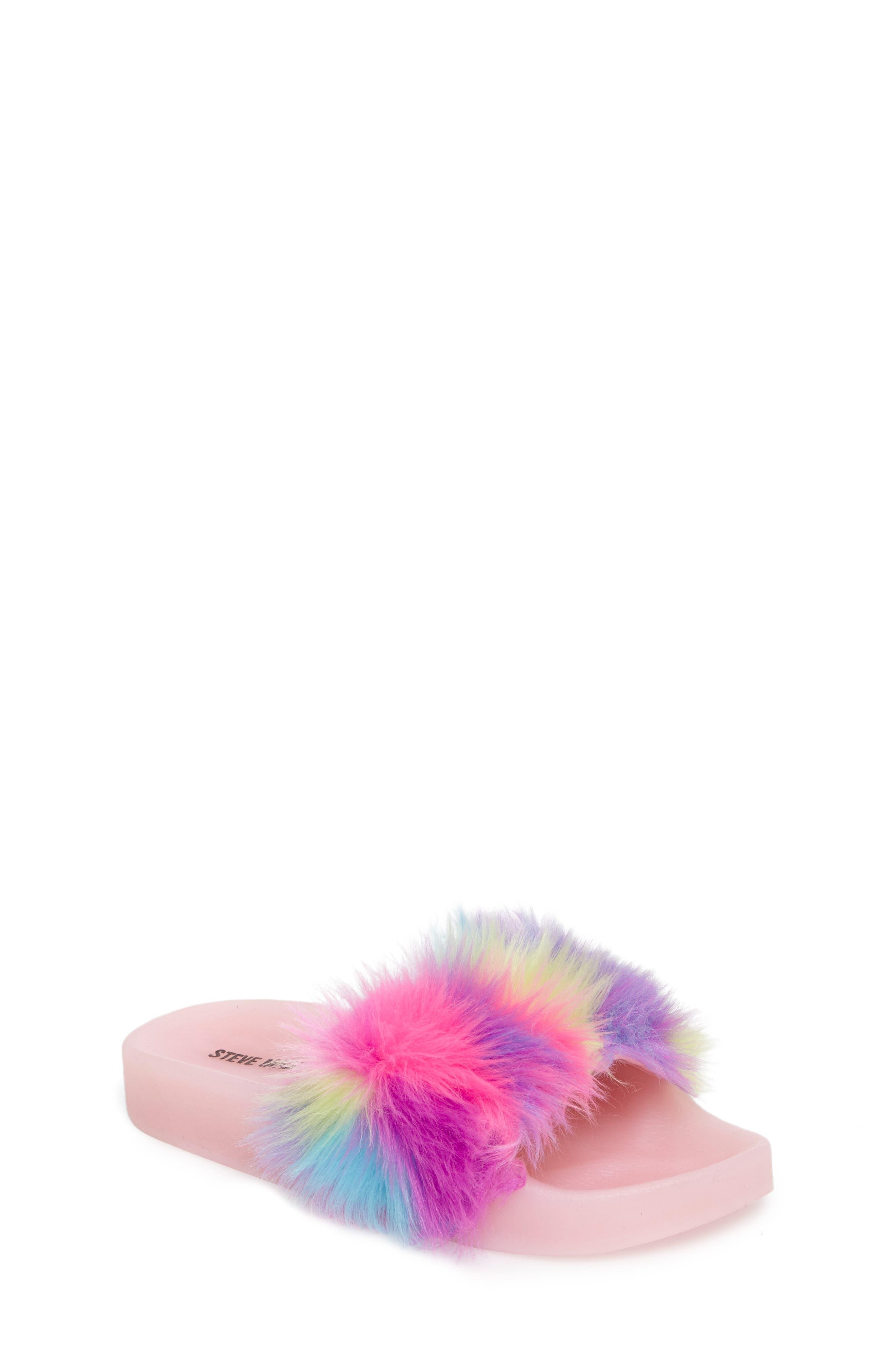 Jlights Faux Fur Light-Up Slide Sandal,                             Main thumbnail 1, color,                             Multi