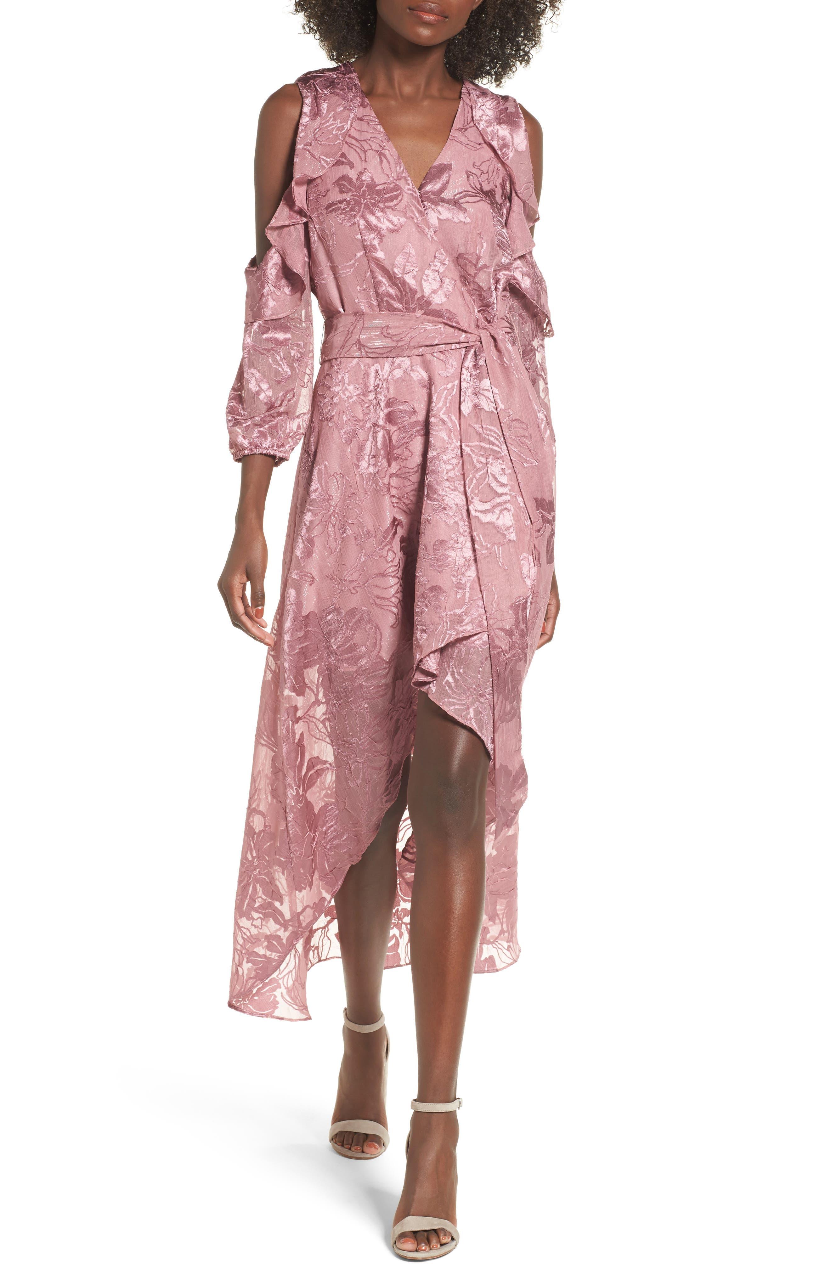 Libra Cold Shoulder Wrap Dress,                         Main,                         color, Lilac