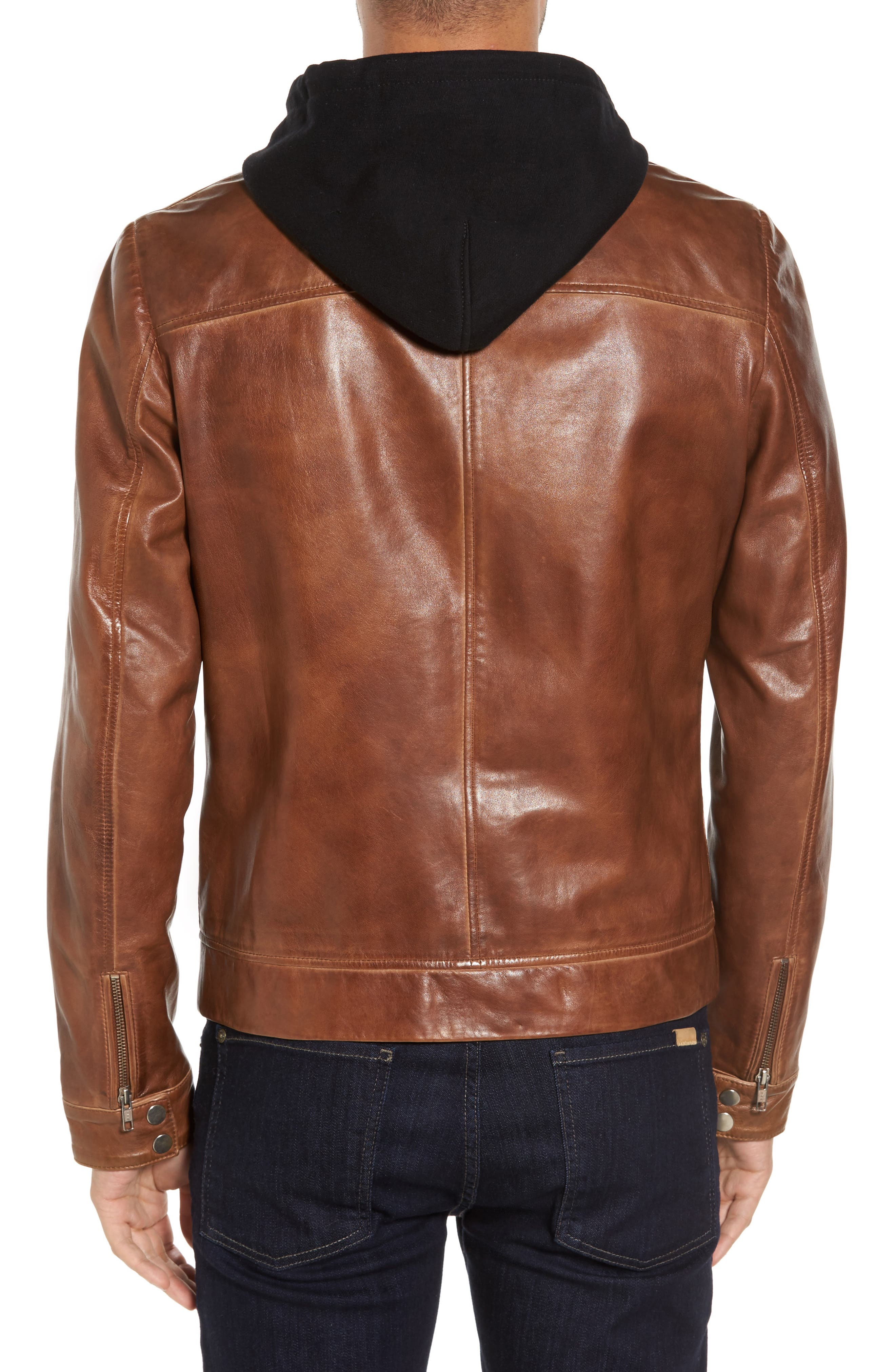 Leather Moto Jacket with Removable Hood,                             Alternate thumbnail 2, color,                             Luggage Brown