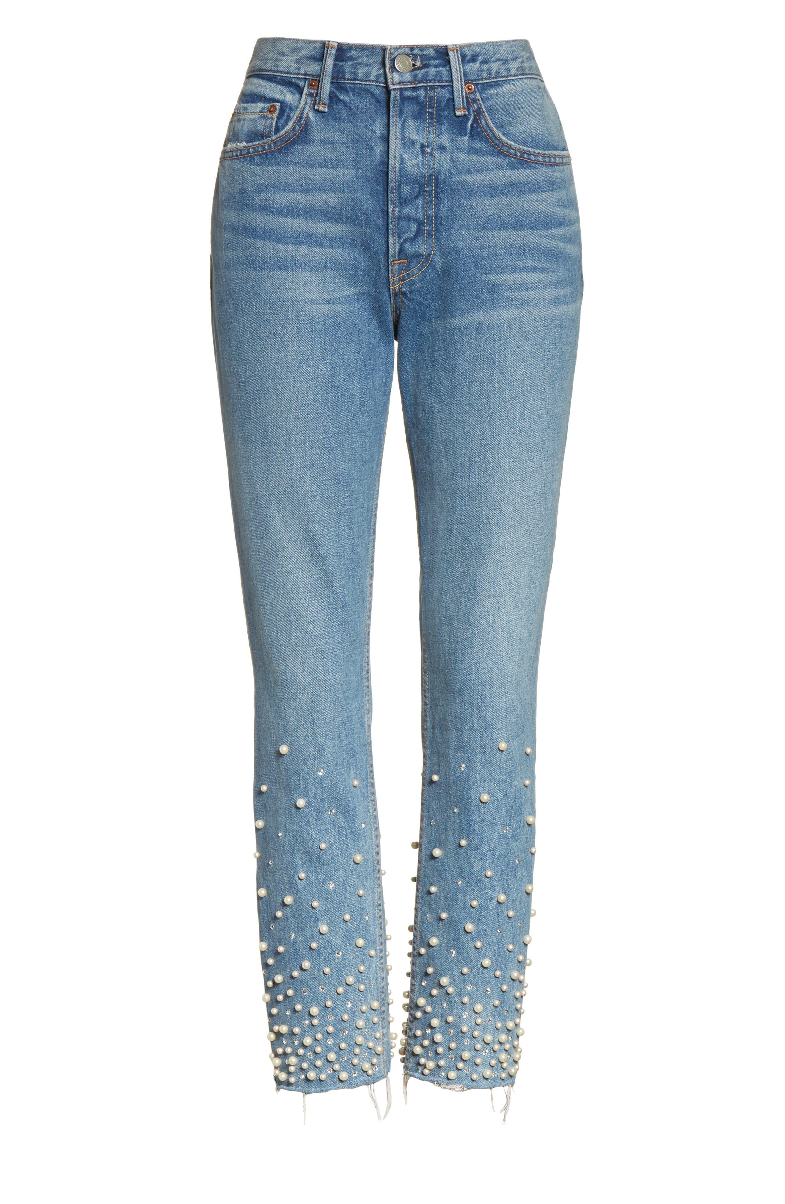 Alternate Image 4  - GRLFRND Karolina Faux Pearl & Crystal Embellished Rigid High Waist Skinny Jeans (Morning Star)