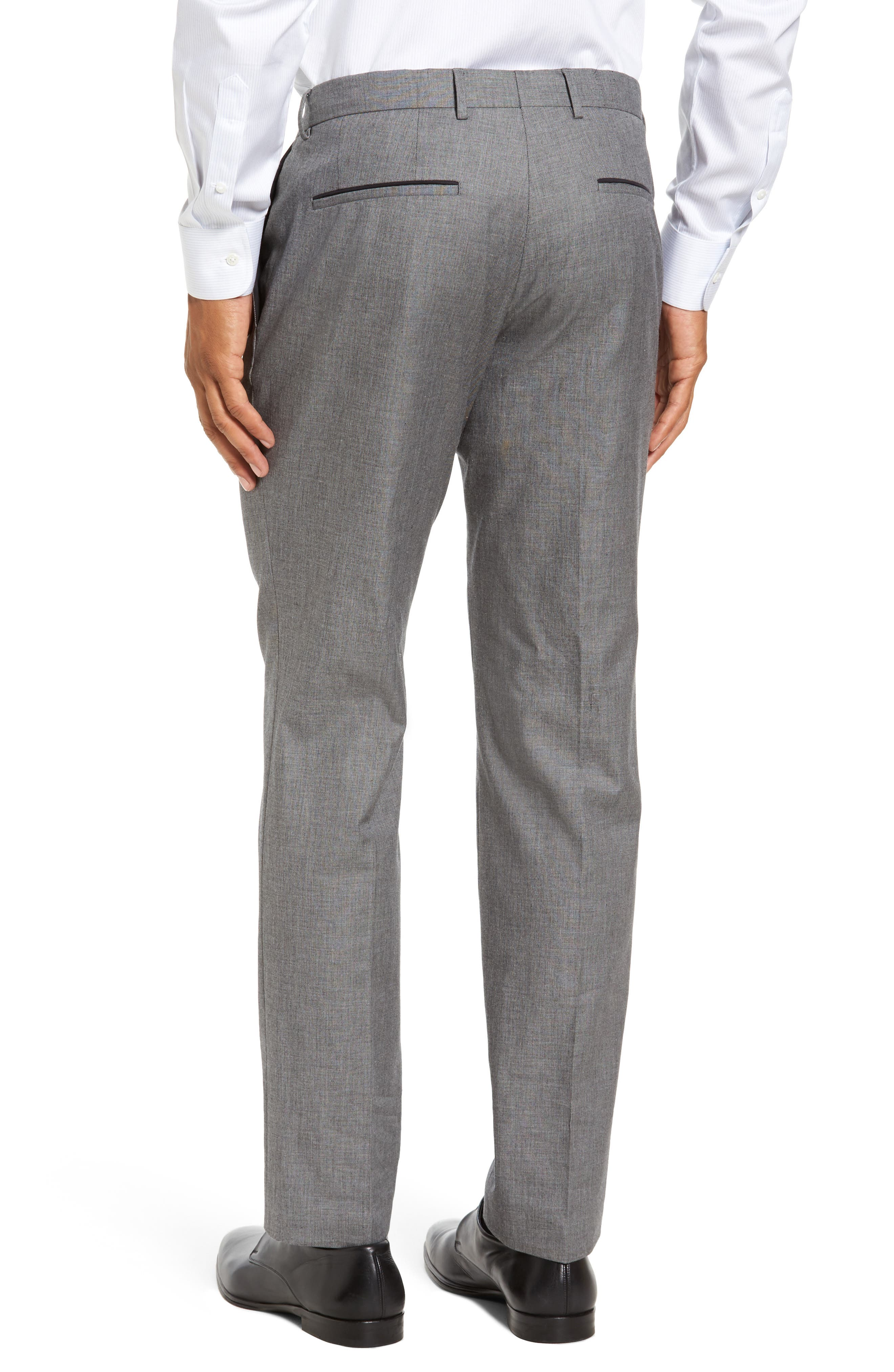 Blake Flat Front Trim Fit Solid Wool Trousers,                             Alternate thumbnail 3, color,                             Open Grey