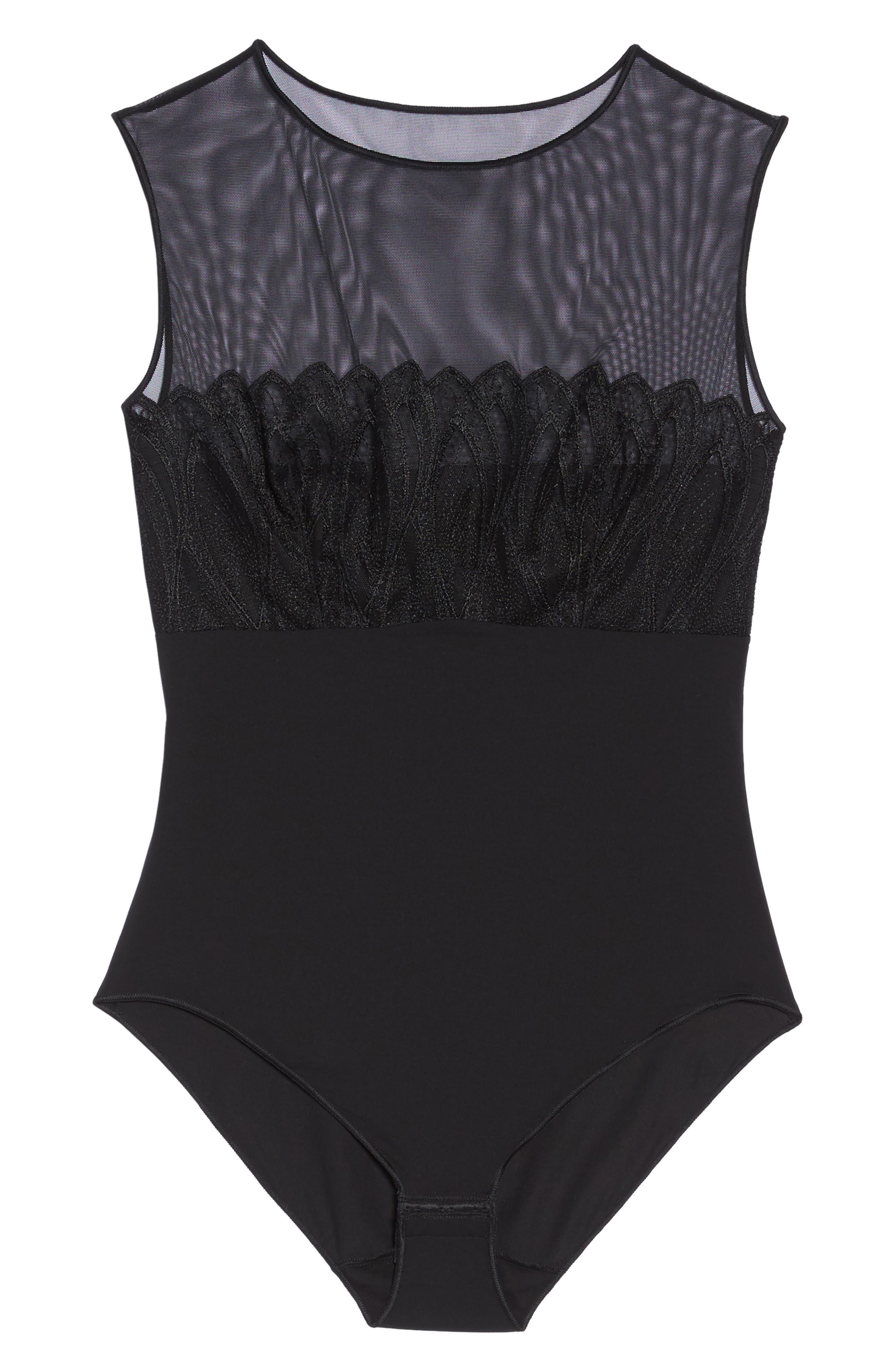 Mesh Yoke Bodysuit,                             Alternate thumbnail 4, color,                             Black