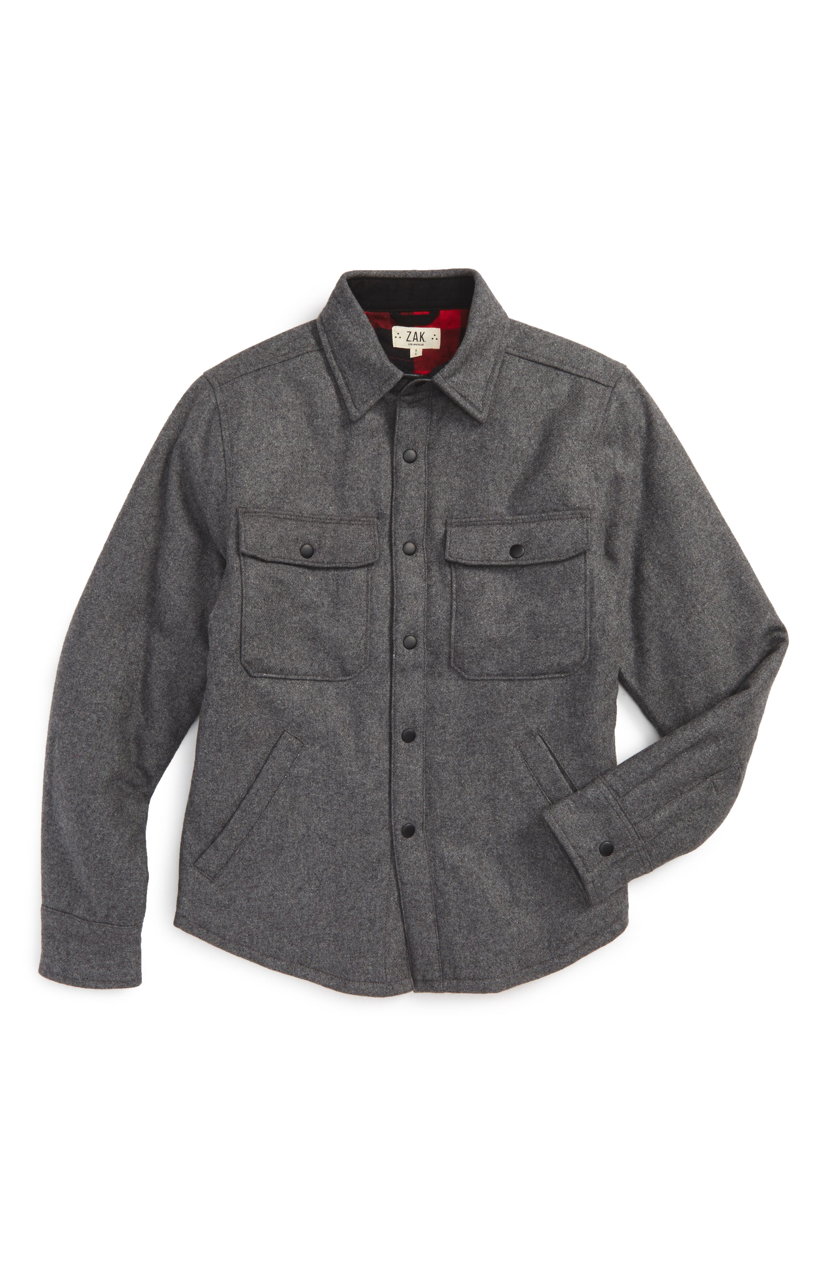 Flannel Shirt Jacket,                         Main,                         color, Grey