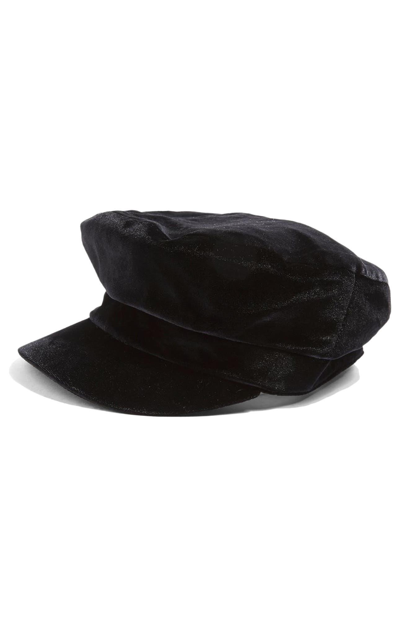 Velvet Baker Hat,                             Alternate thumbnail 3, color,                             Black
