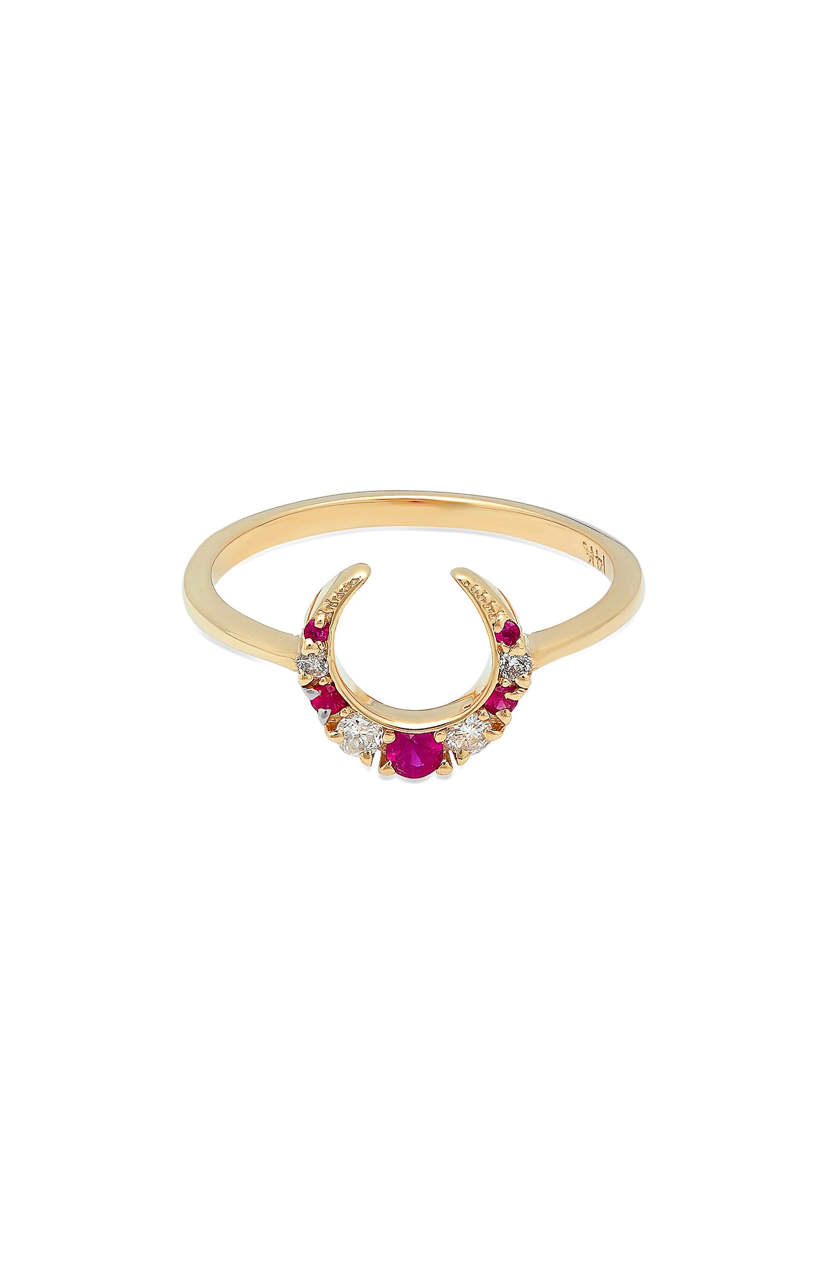 x Stone Fox Crescent Diamond & Stone Ring,                         Main,                         color, Yellow Gold