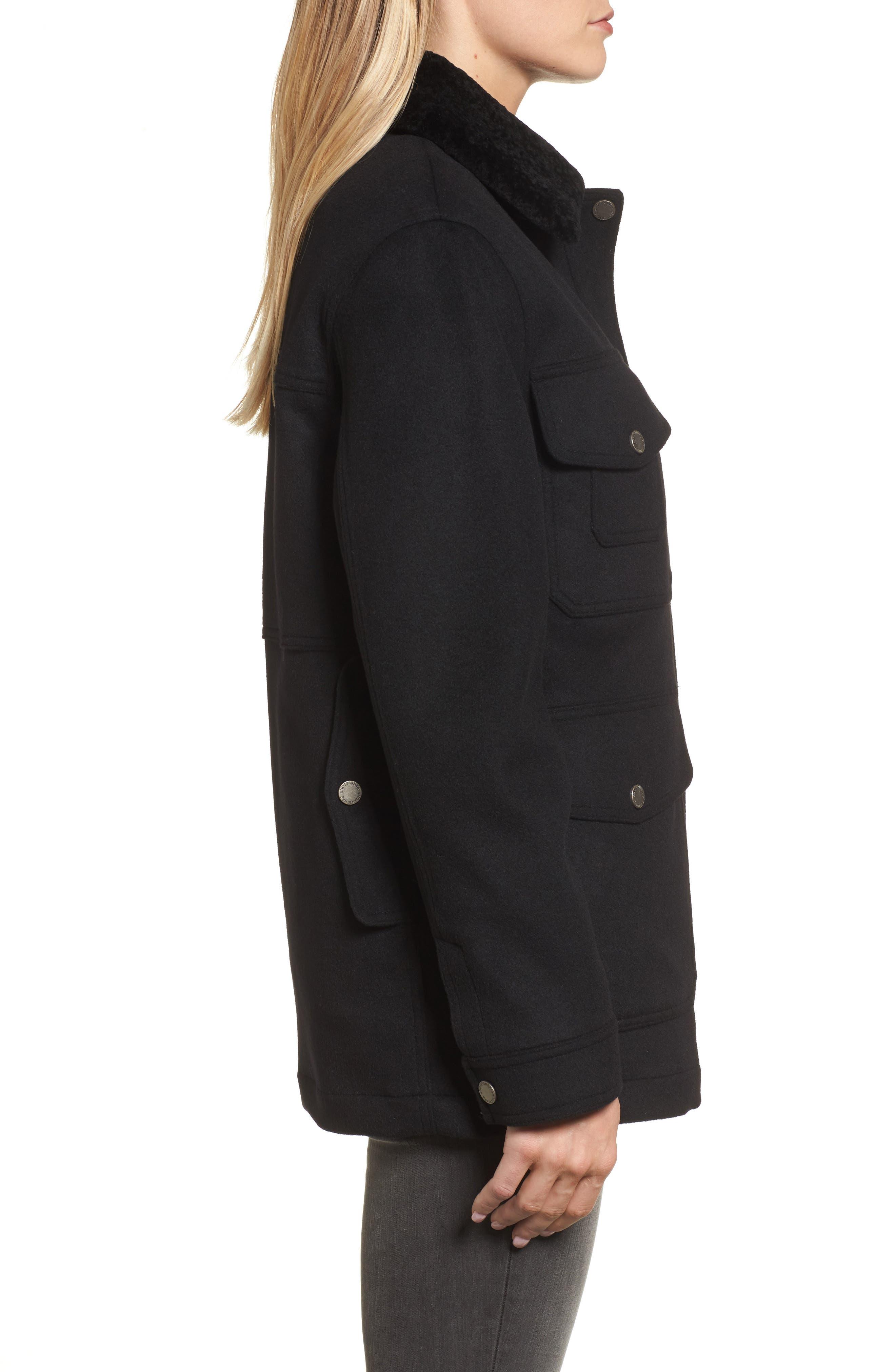 Manchester Waterproof Field Coat,                             Alternate thumbnail 3, color,                             Black