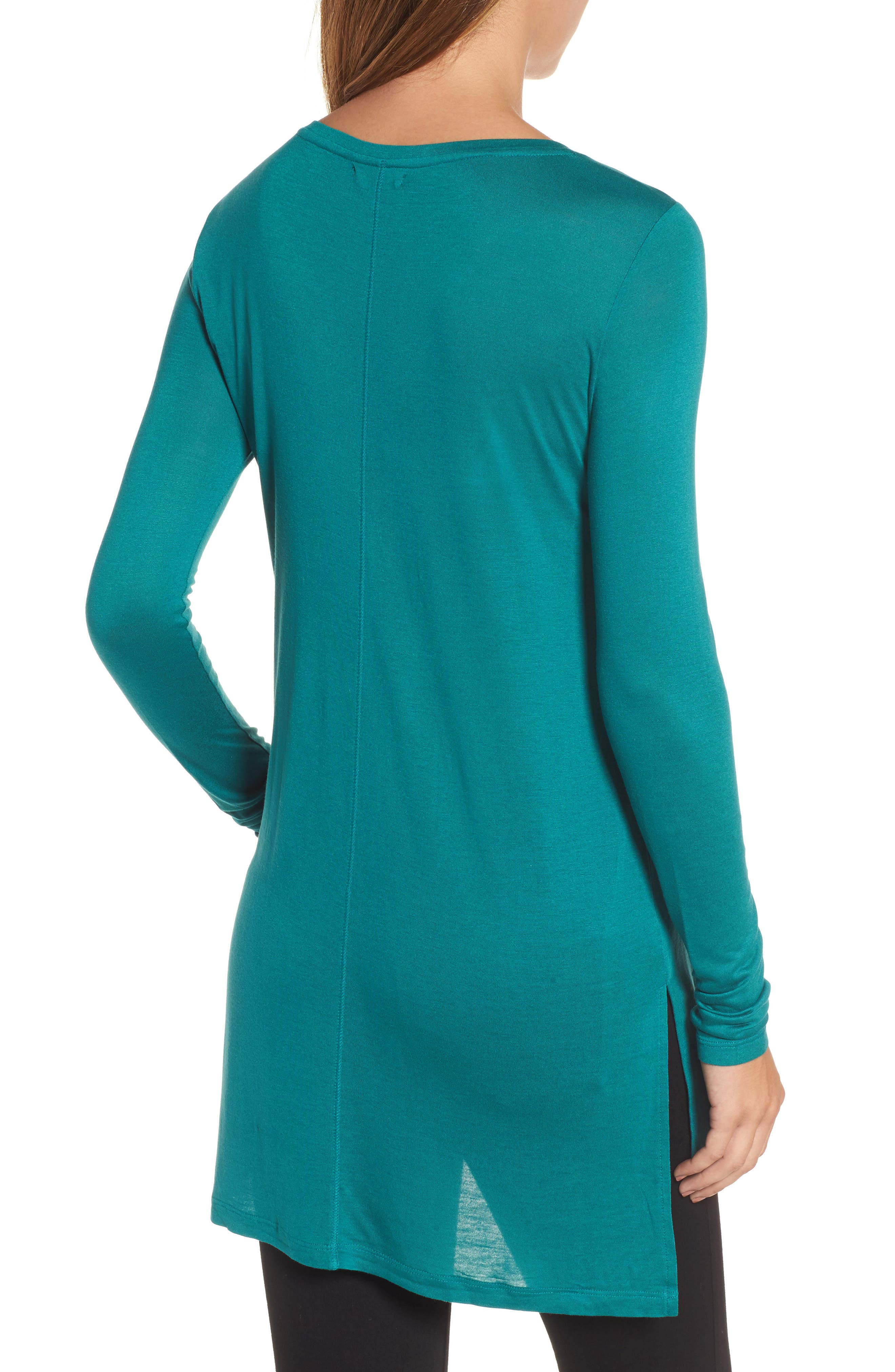 Long Sleeve Lightweight Tunic,                             Alternate thumbnail 2, color,                             Teal Green