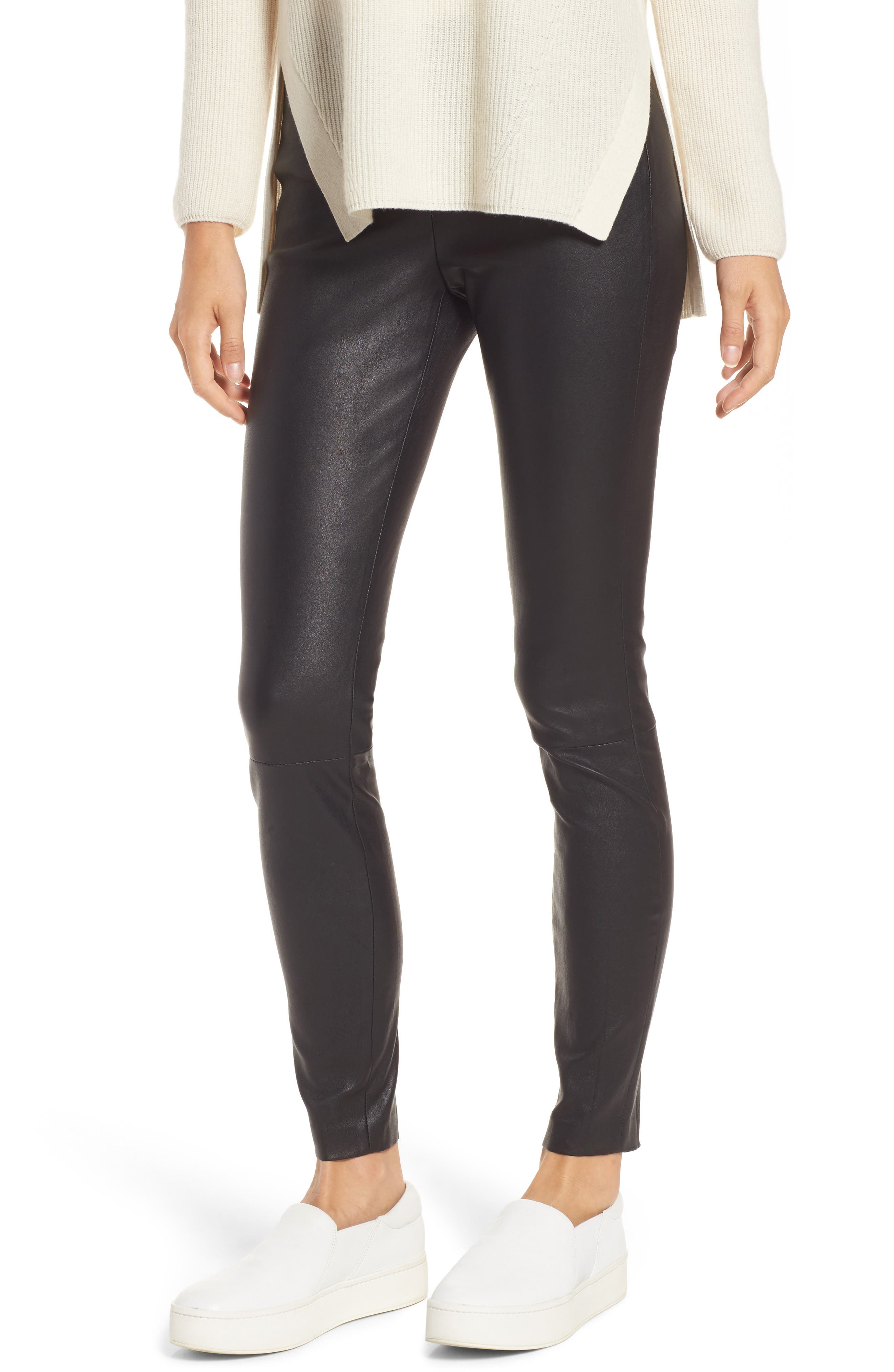 Stretch Leather Leggings,                         Main,                         color, Black