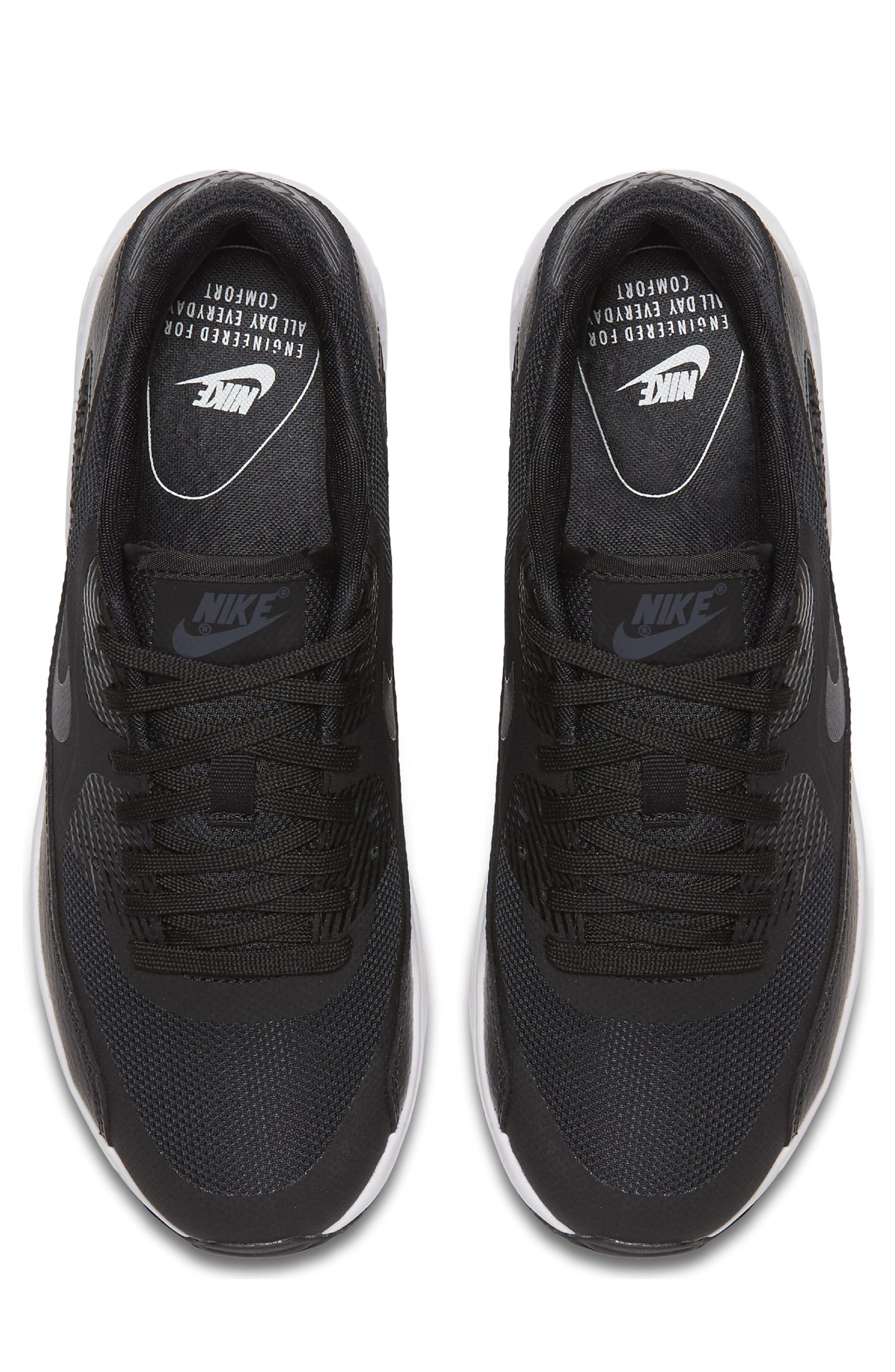 Air Max 90 Ultra 2.0 Sneaker,                             Alternate thumbnail 5, color,                             Black/ White/ Black
