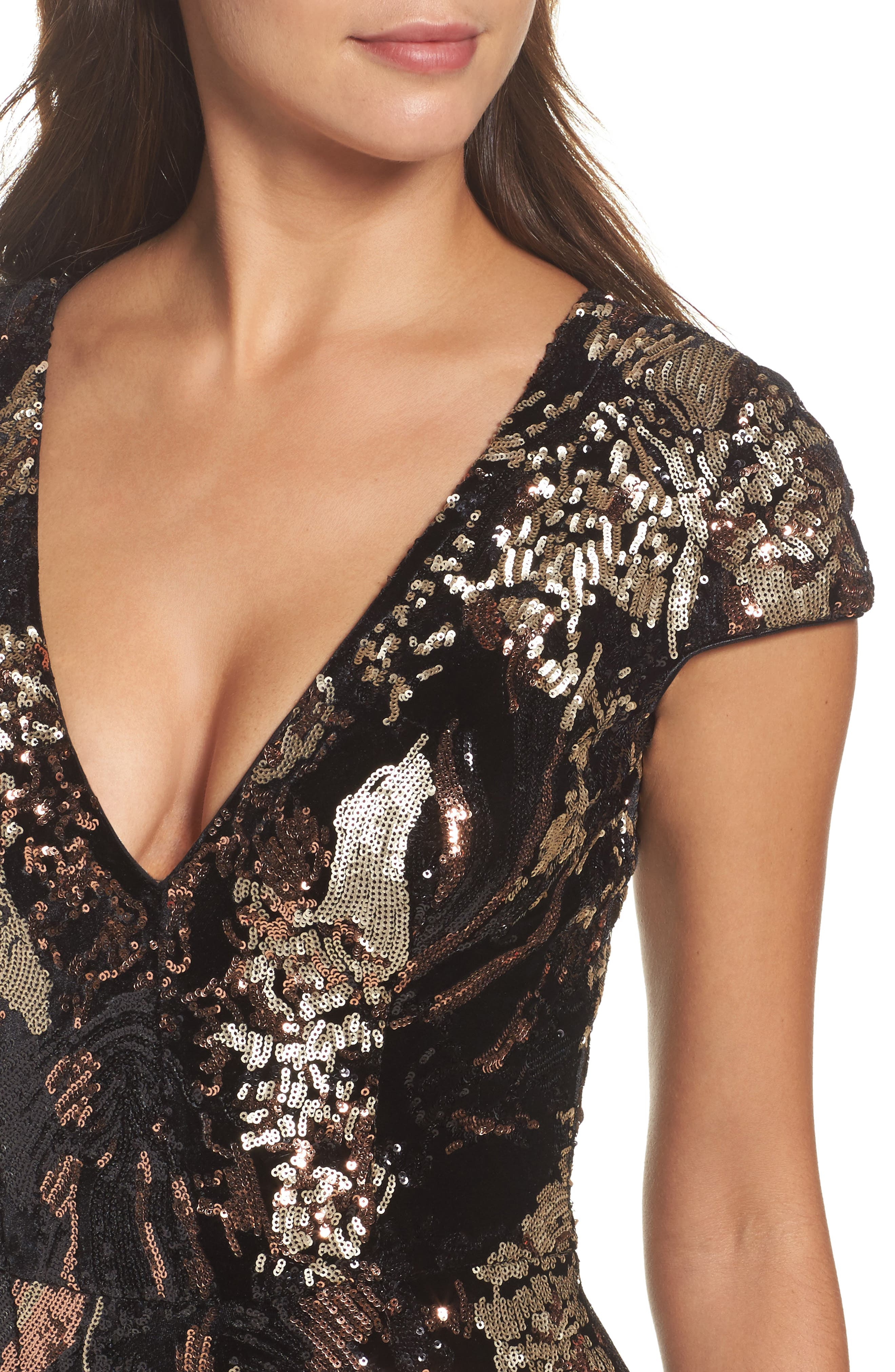 Allison Sequin Velvet Body-Con Dress,                             Alternate thumbnail 5, color,                             Black/ Bronze