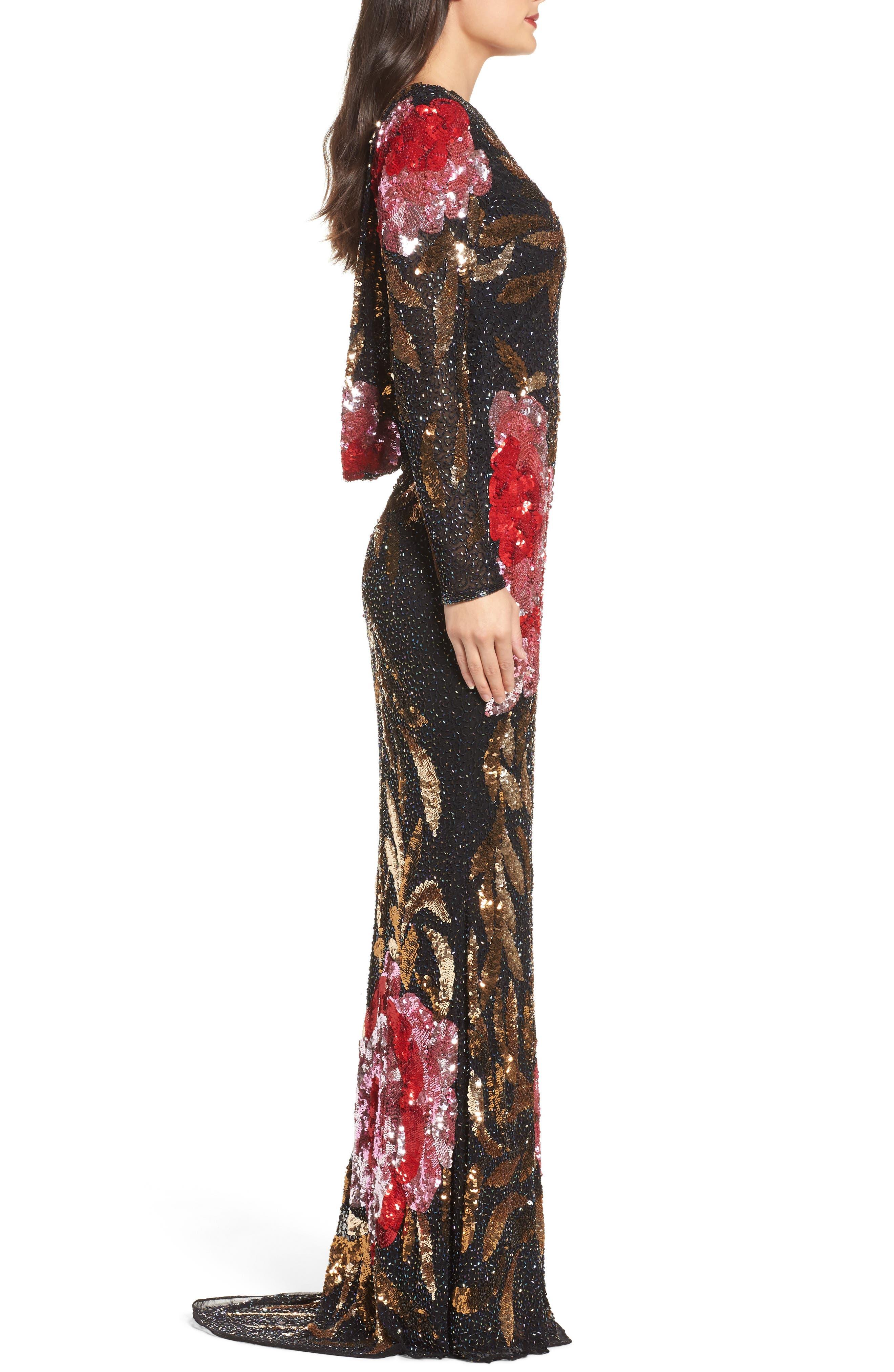 Alternate Image 3  - Mac Duggal Drape Back Floral Sequin Gown