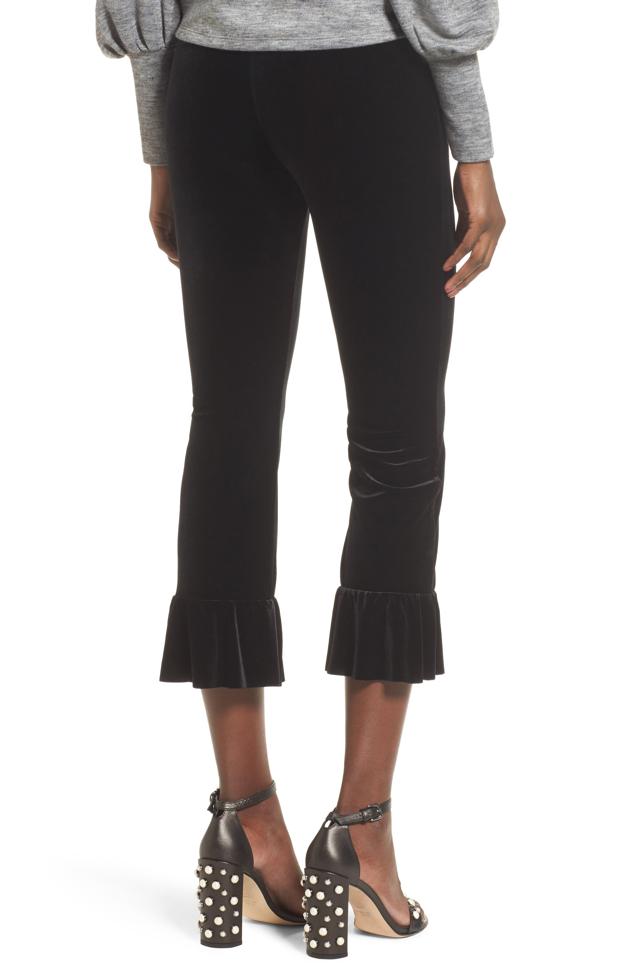 Ruffle Hem Crop Pants,                             Alternate thumbnail 2, color,                             Black