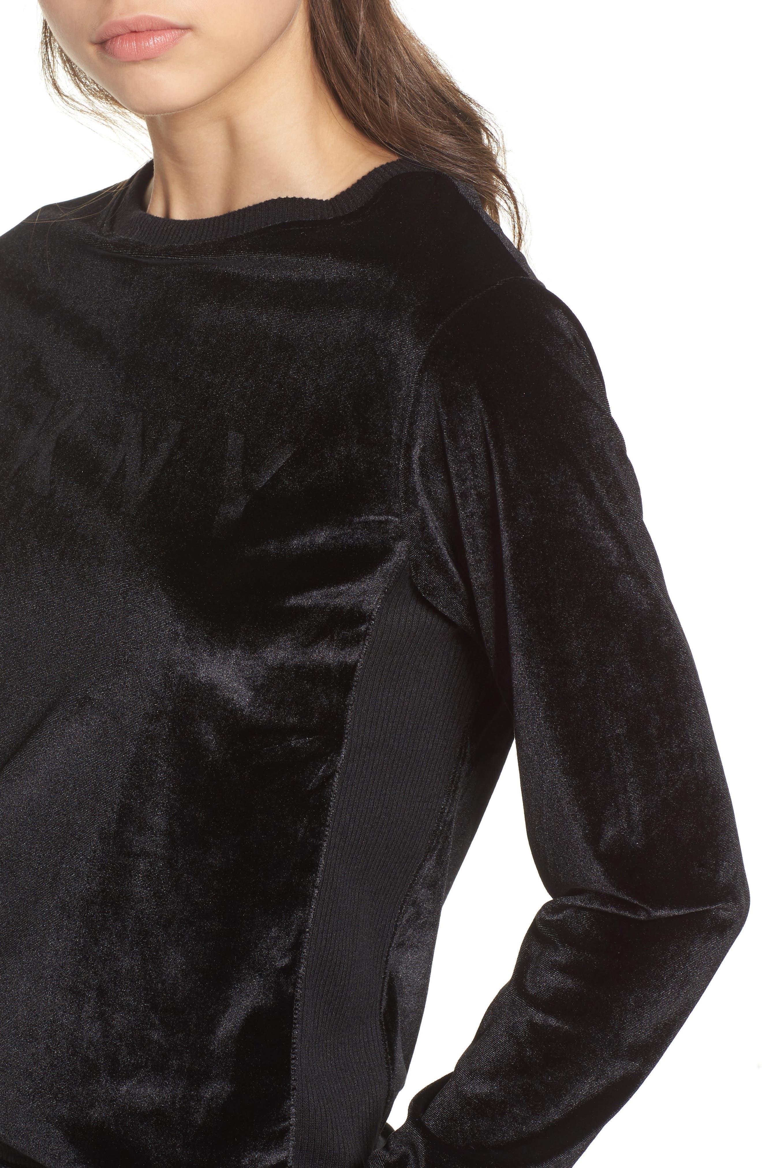 Alternate Image 4  - DKNY Velour Sweatshirt