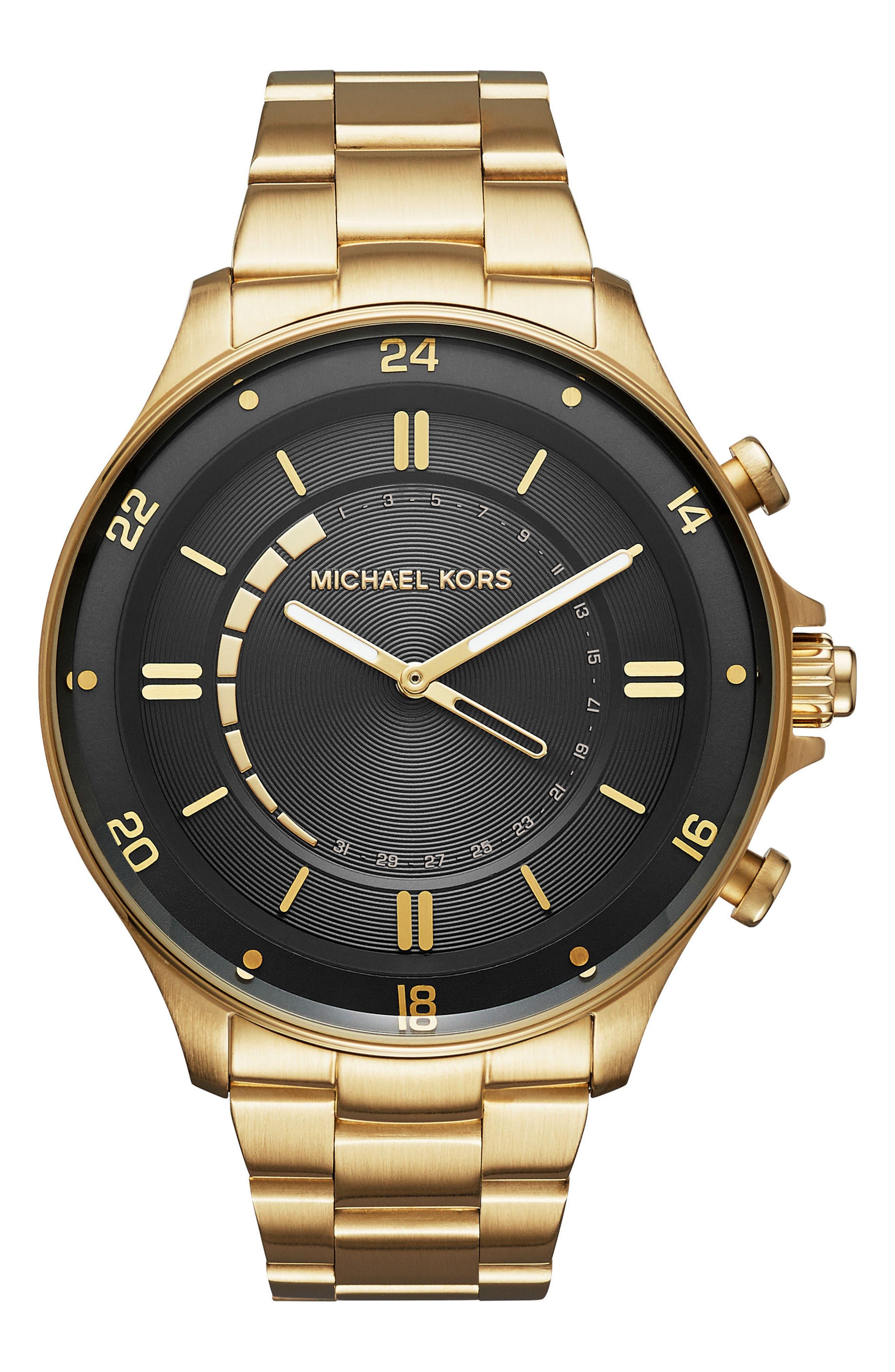 Reid Hybrid Bracelet Watch, 45mm,                         Main,                         color, Gold/ Black/ Gold