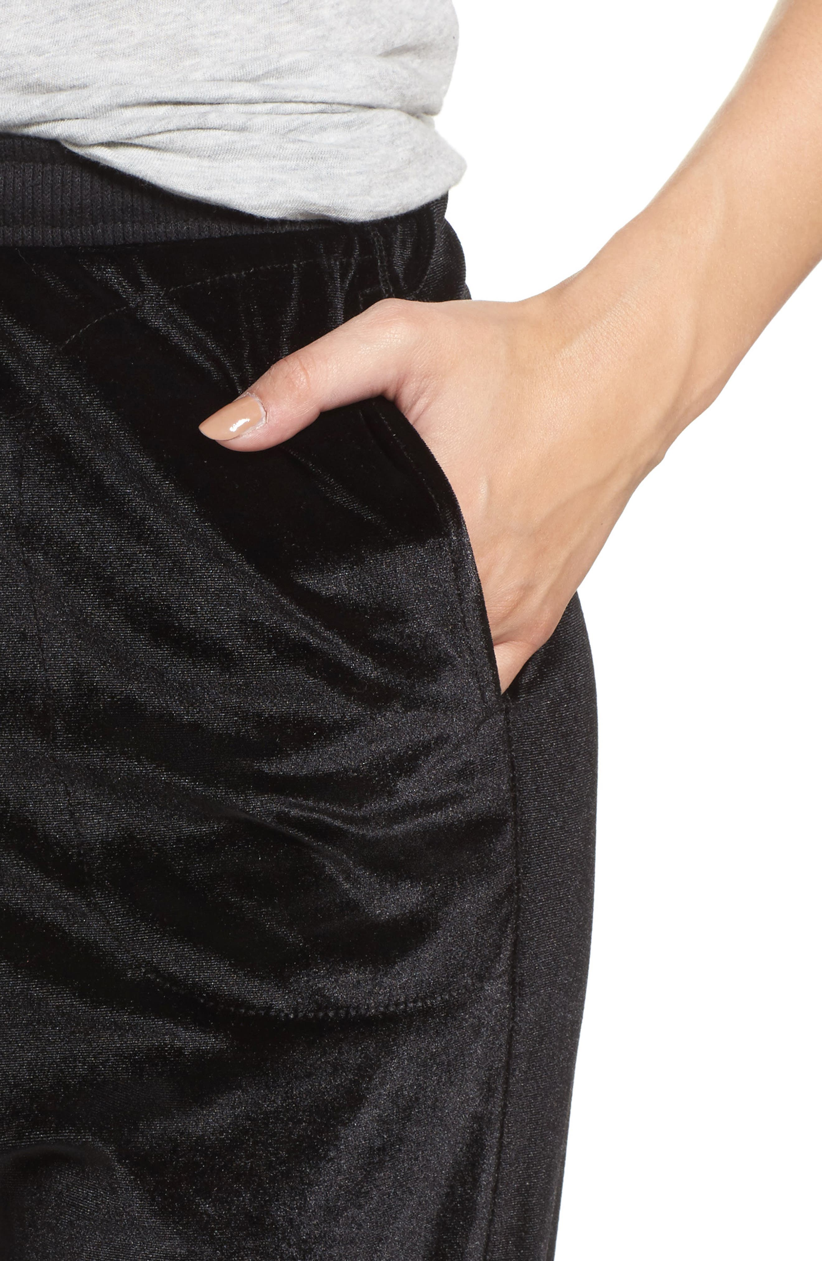 Velour Lounge Jogger Pants,                             Alternate thumbnail 4, color,                             Black