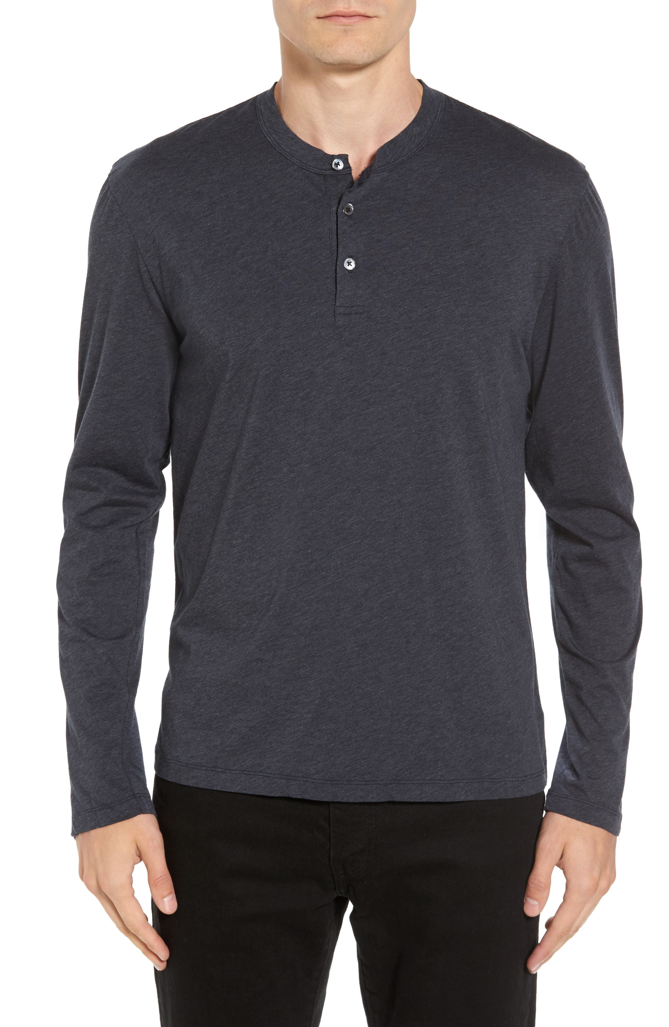 Long Sleeve Cotton & Cashmere Henley T-Shirt,                         Main,                         color, Heather Navy