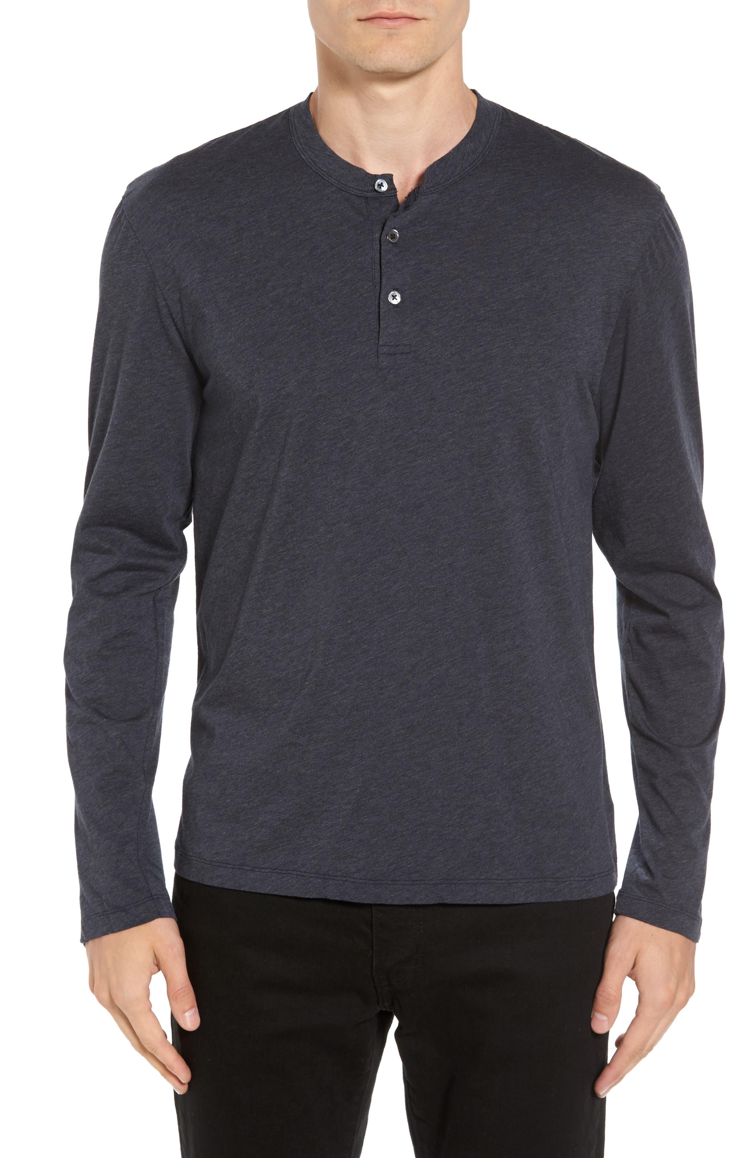 James Perse Long Sleeve Cotton & Cashmere Henley T-Shirt