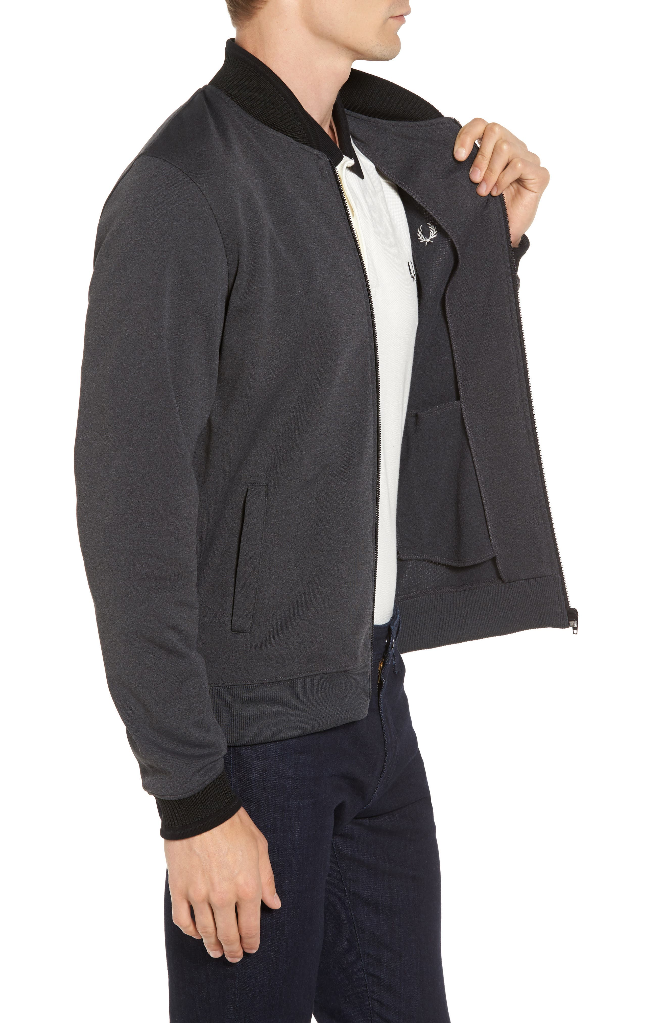 Bomber Jacket,                             Alternate thumbnail 3, color,                             Charcoal Solid Marl