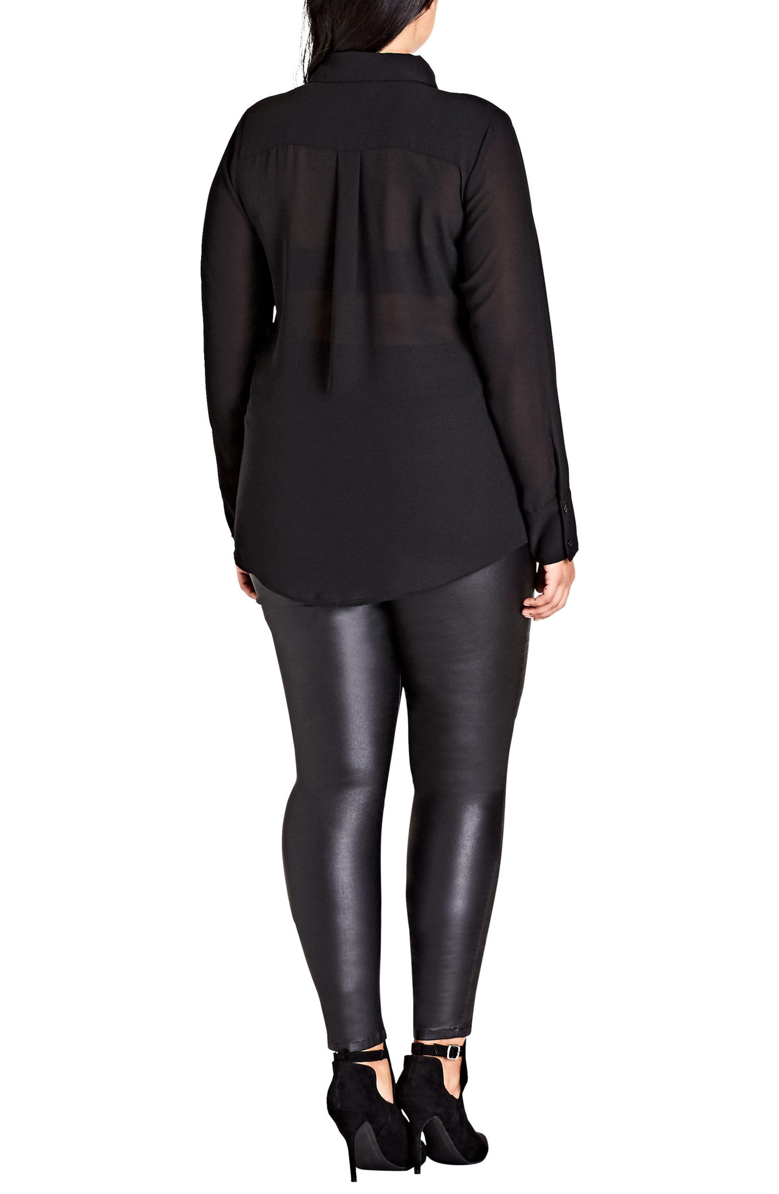 Alternate Image 2  - City Chic Fly Away Embellished Sheer Shirt (Plus Size)