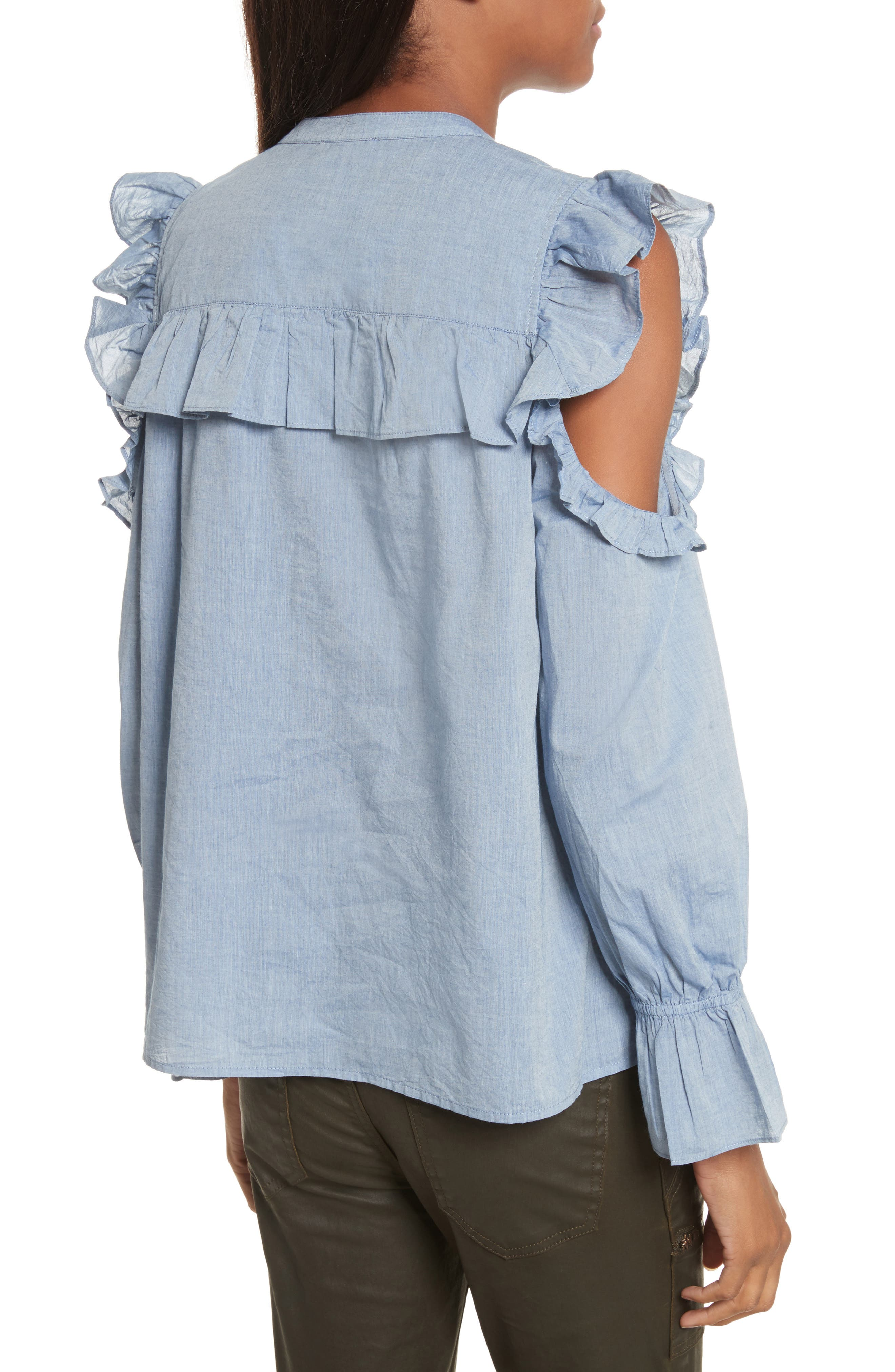 Akari Cold Shoulder Top,                             Alternate thumbnail 2, color,                             Chambray